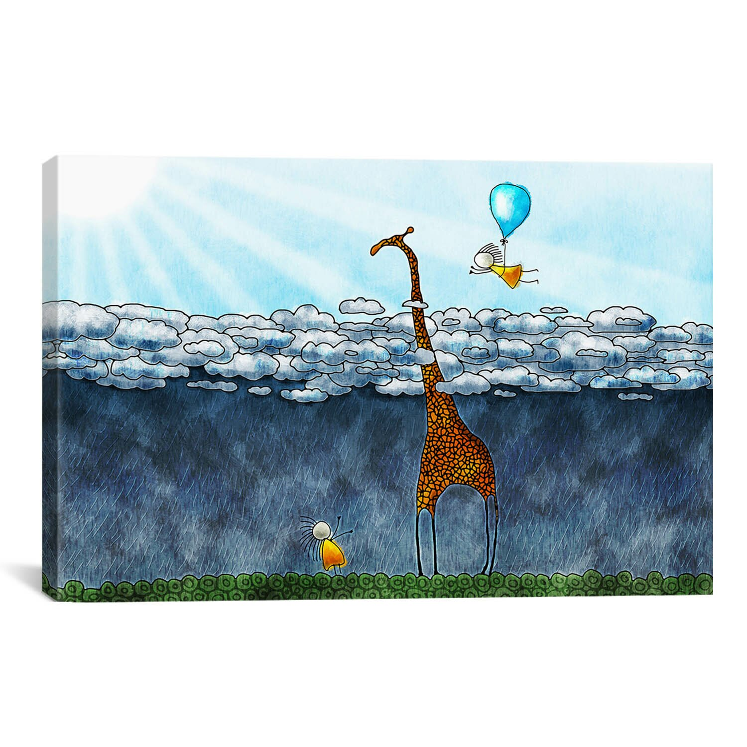 icanvas giraffe over the clouds children 39 s painting on wrapped canvas reviews wayfair. Black Bedroom Furniture Sets. Home Design Ideas