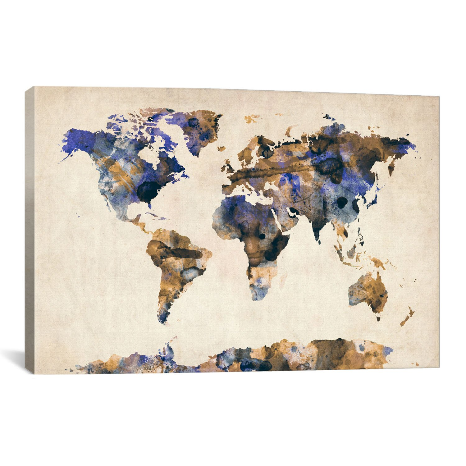 Icanvas Urban Watercolor World Map V By Michael Tompsett