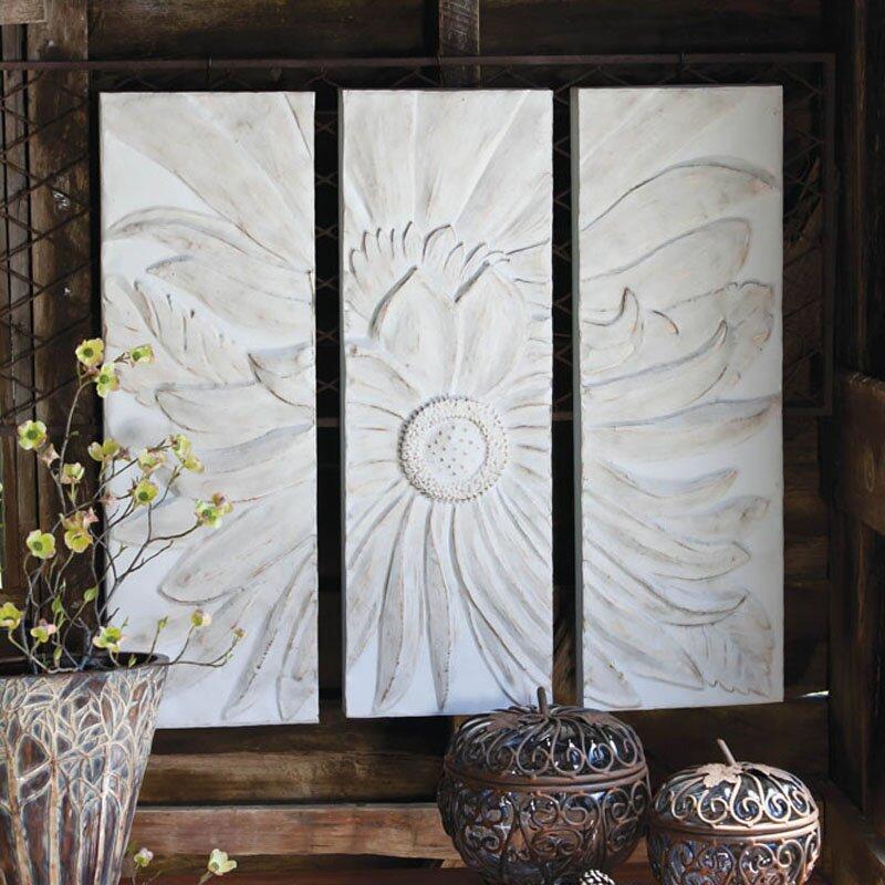 one allium way lidia 3 piece flower wall decor set. Black Bedroom Furniture Sets. Home Design Ideas