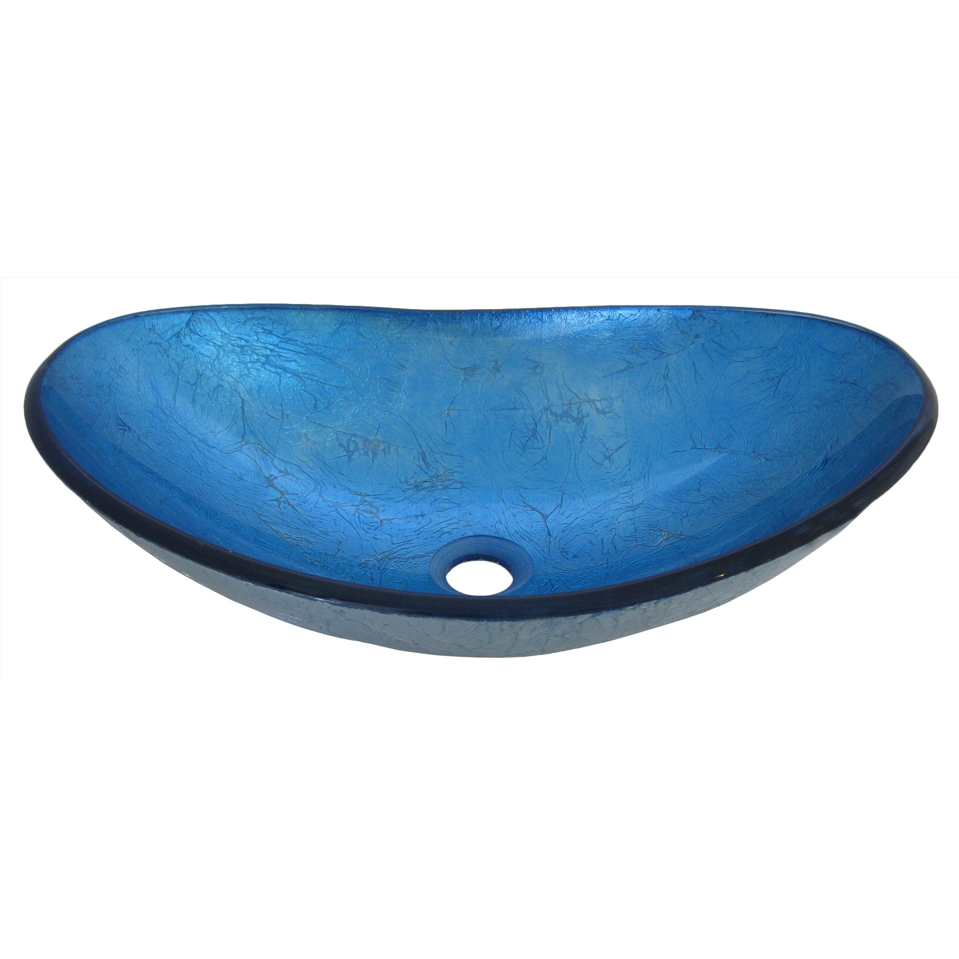 Novatto Azzurro Glass Vessel Bathroom Sink & Reviews Wayfair