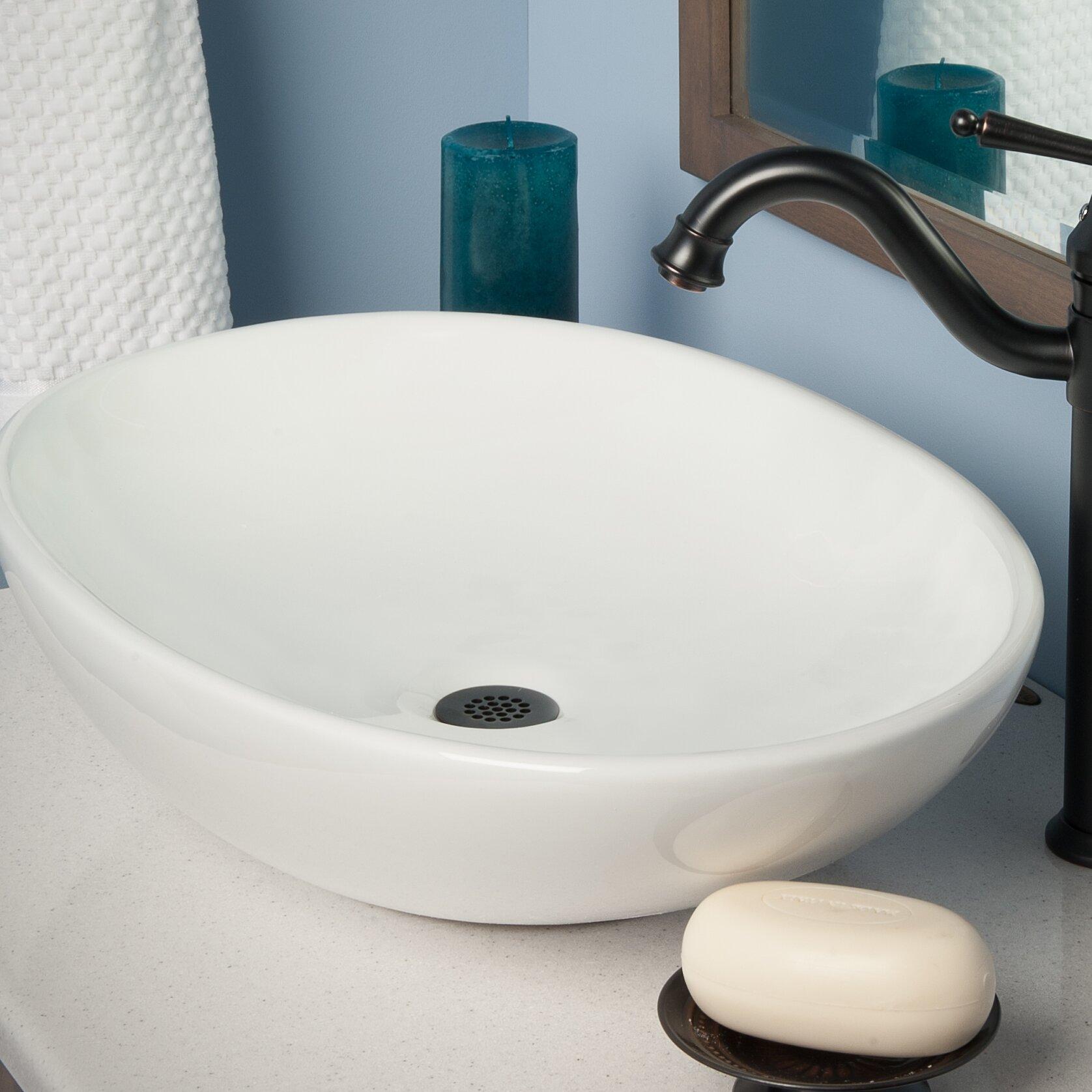 Novatto Oval Ceramic Vessel Bathroom Sink with Overflow Wayfair.ca