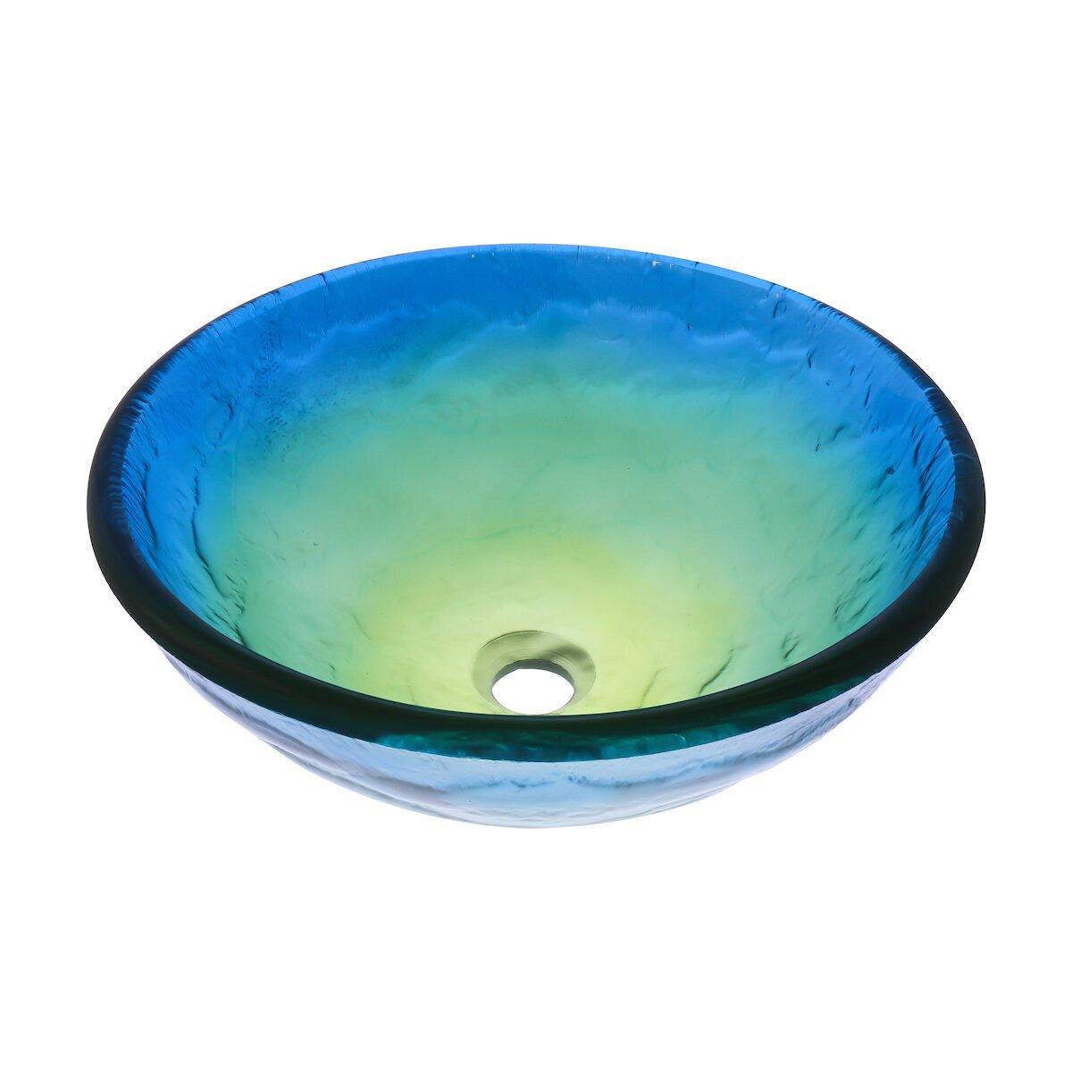 Novatto mare glass vessel bathroom sink set wayfair for Bath toilet and sink sets