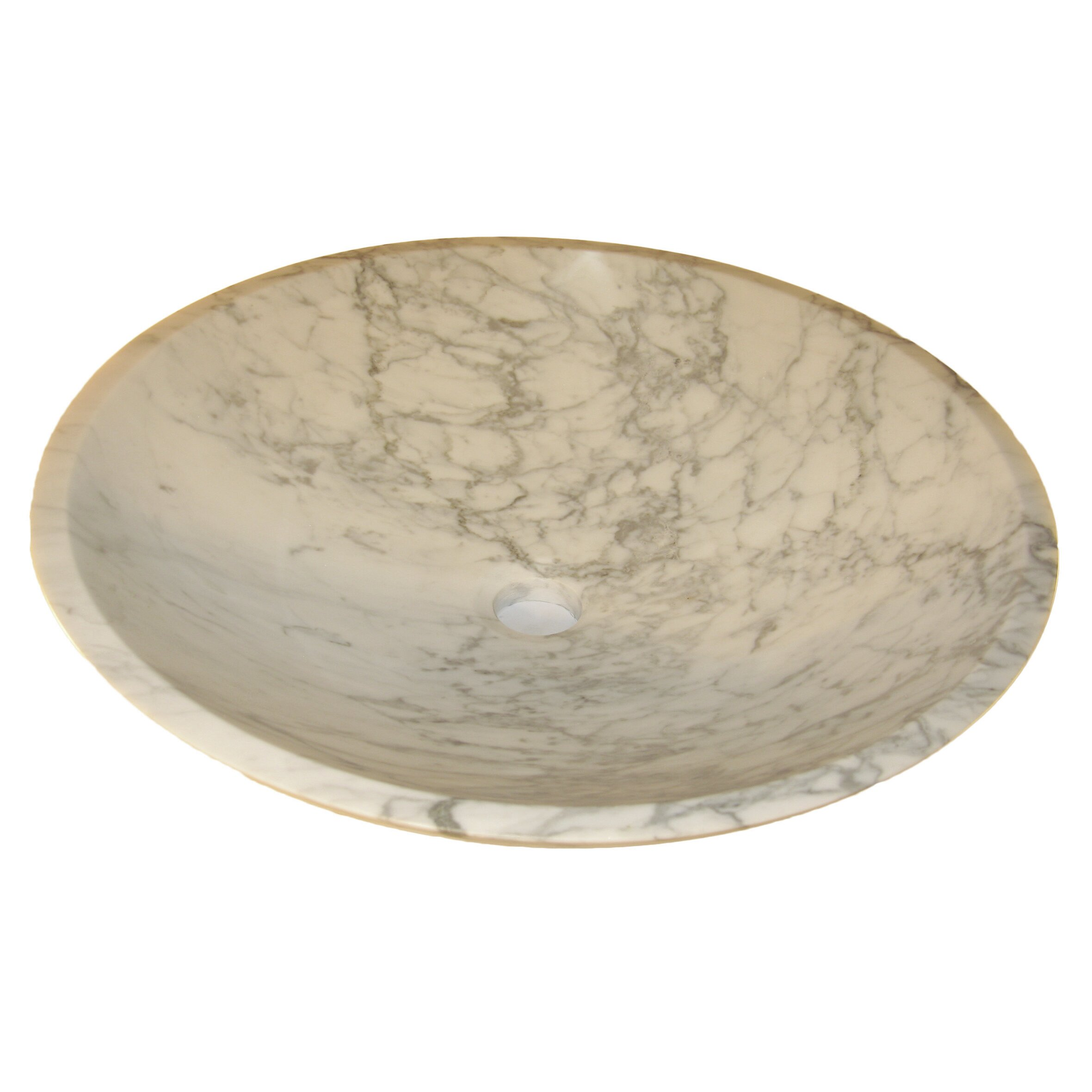 White Marble Vessel Sink : Novatto White Marble Vessel Bathroom Sink and Umbrella Drain Wayfair
