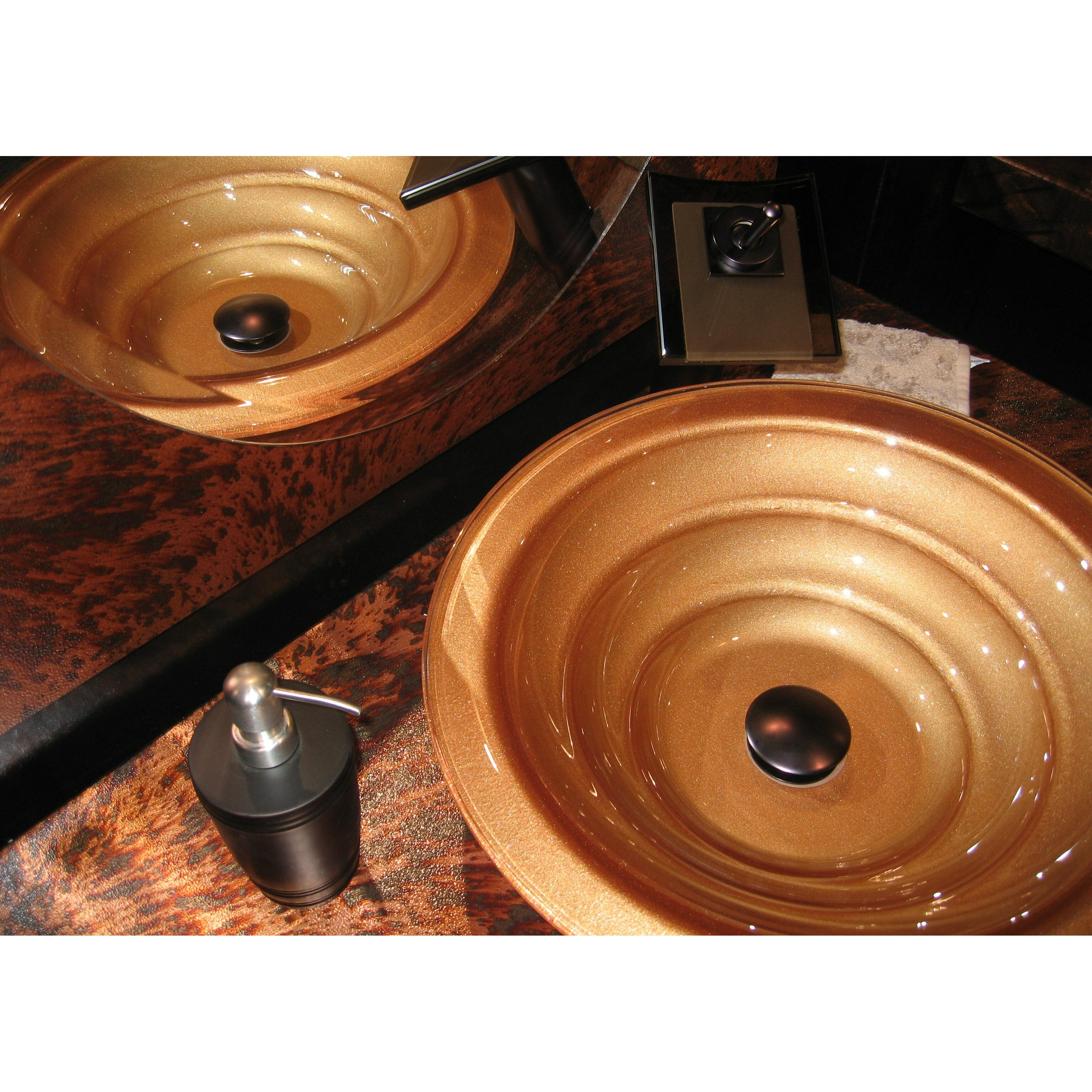 Novatto bronzo glass vessel bathroom sink set wayfair for Bath toilet and sink sets