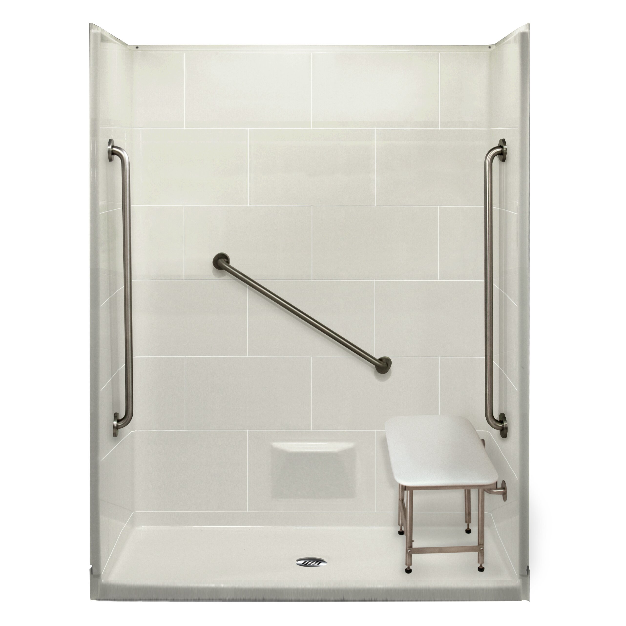 Ella walk in bath plus 36 5 piece rectangular shower kit wayfair - Walk in shower base kit ...