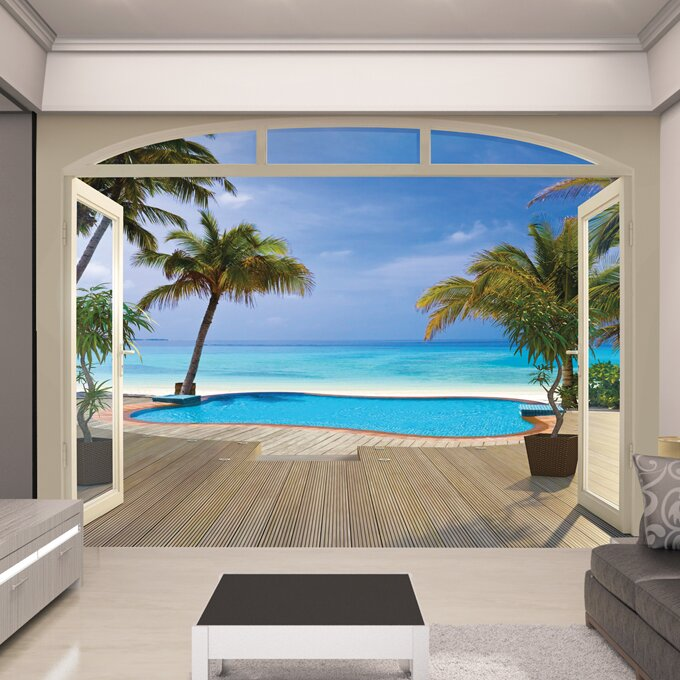 Walltastic view paradise beach wall mural reviews for Beach view wall mural