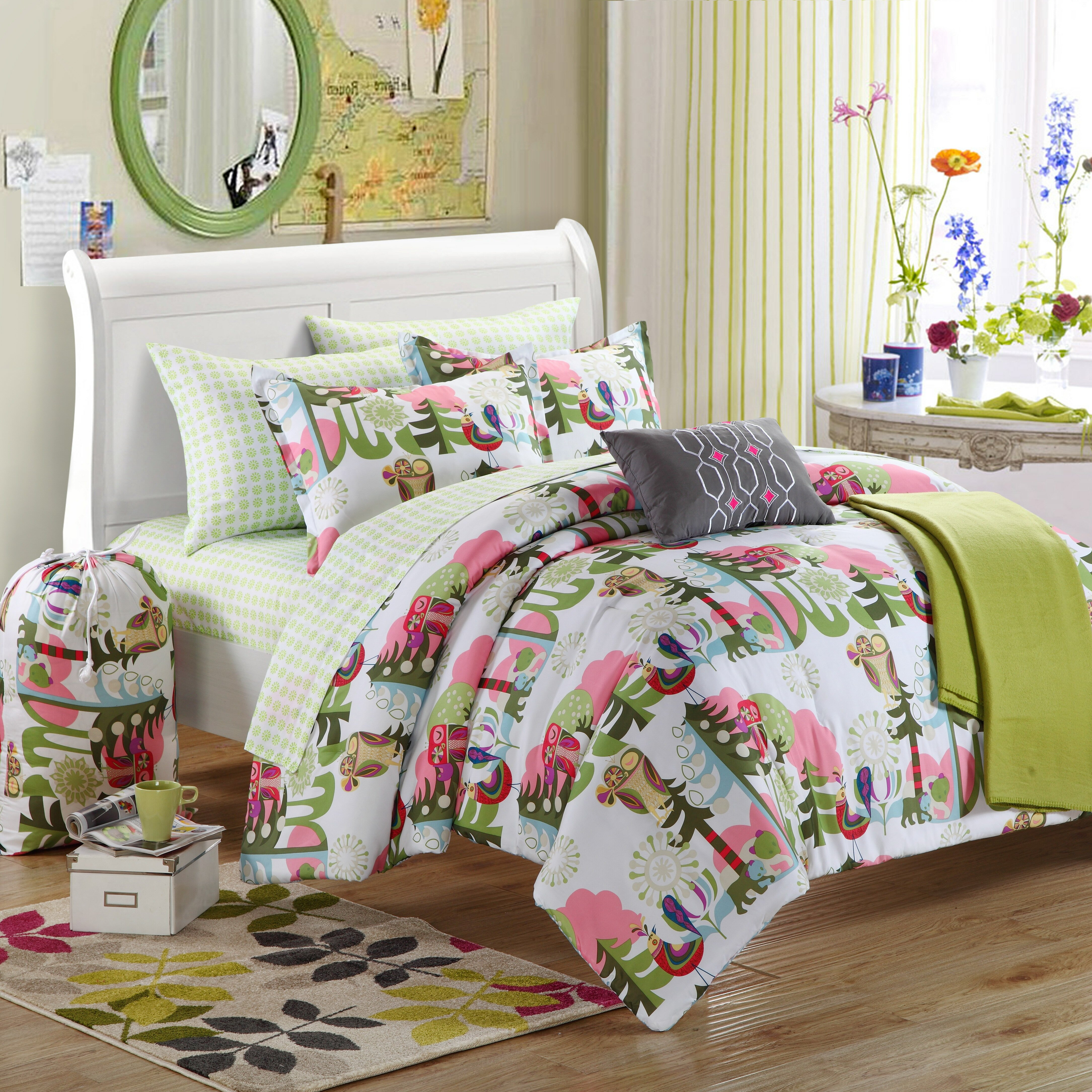 chic home forest owl 4 piece twin comforter set reviews wayfair. Black Bedroom Furniture Sets. Home Design Ideas
