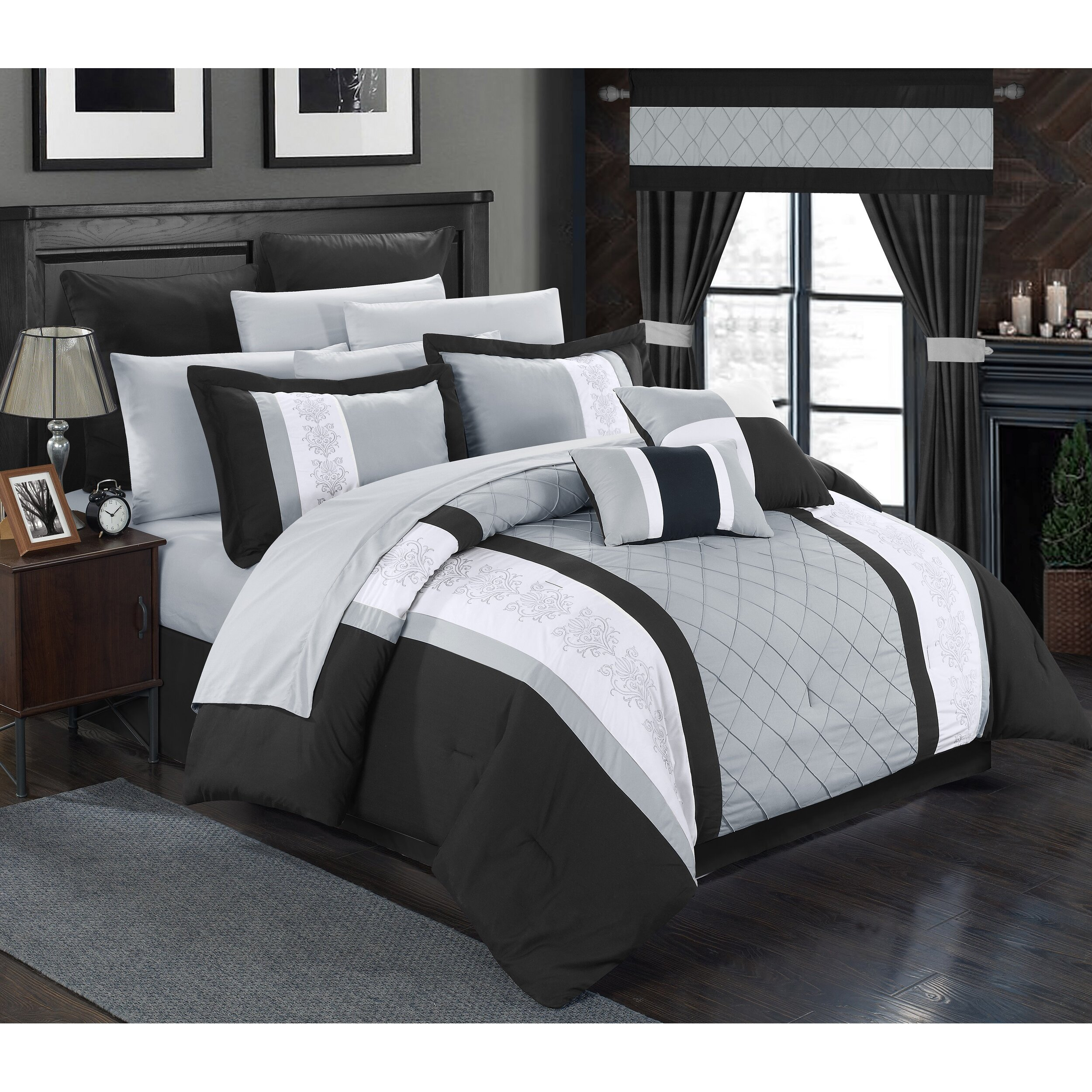 chic home danielle 24 piece comforter set reviews. Black Bedroom Furniture Sets. Home Design Ideas