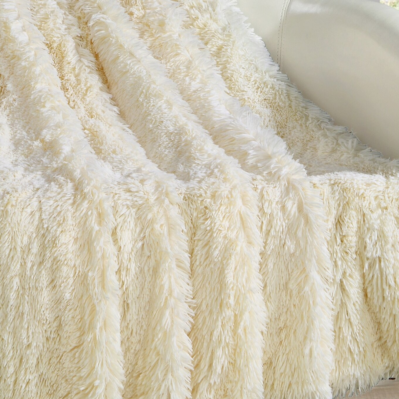 Chic home elana shaggy faux fur supersoft ultra plush for Decorative throws