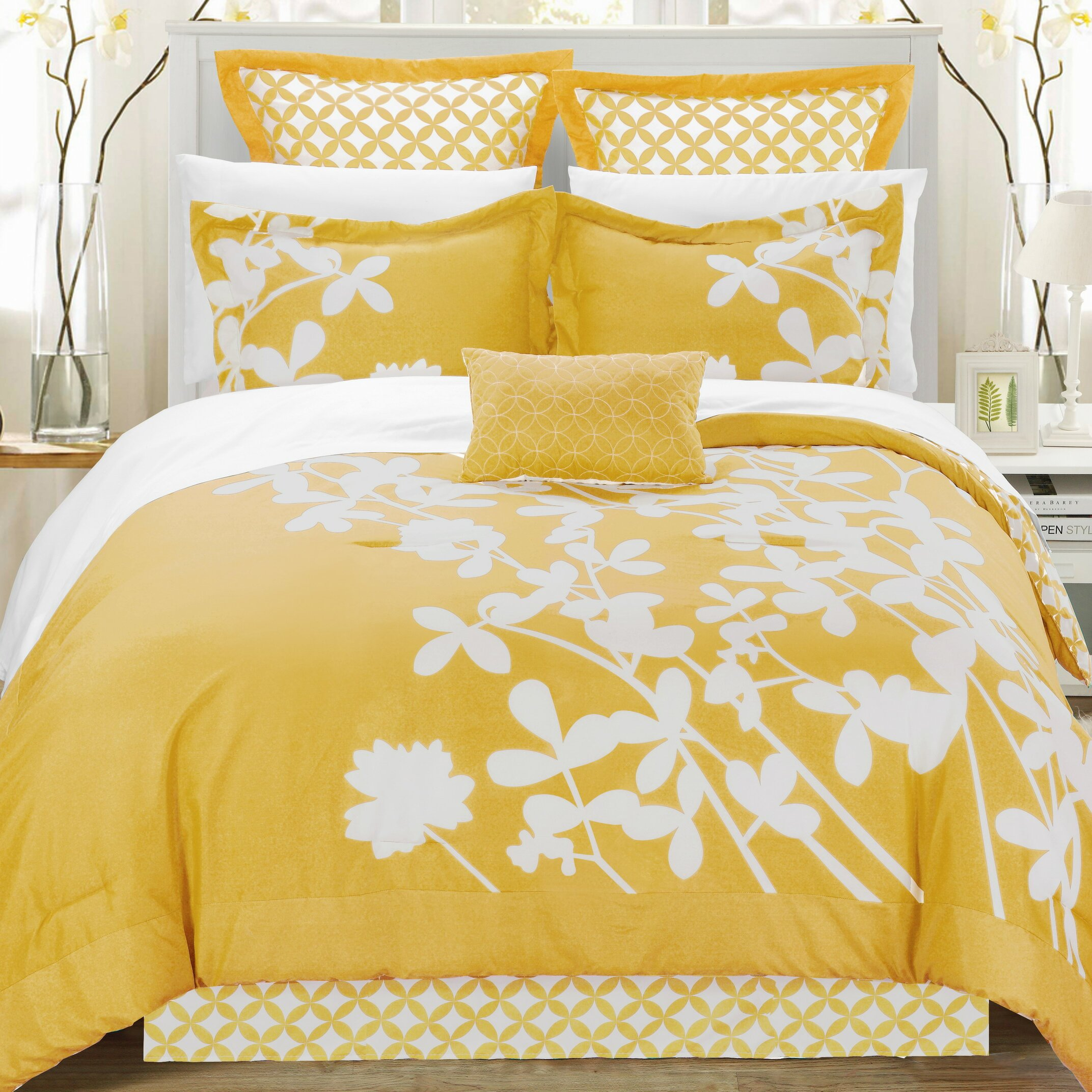 Chic home iris 11 piece reversible comforter set reviews for Home piece