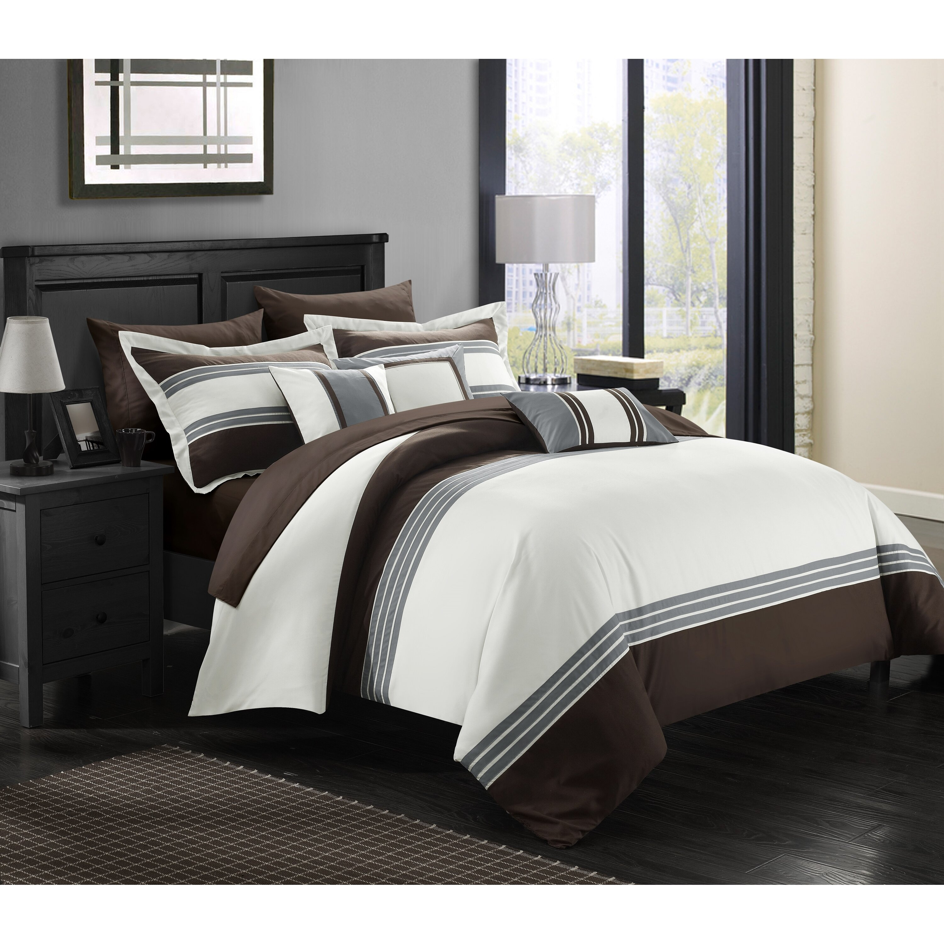 chic home falcon hotel 8 piece twin bed in a bag wayfair. Black Bedroom Furniture Sets. Home Design Ideas