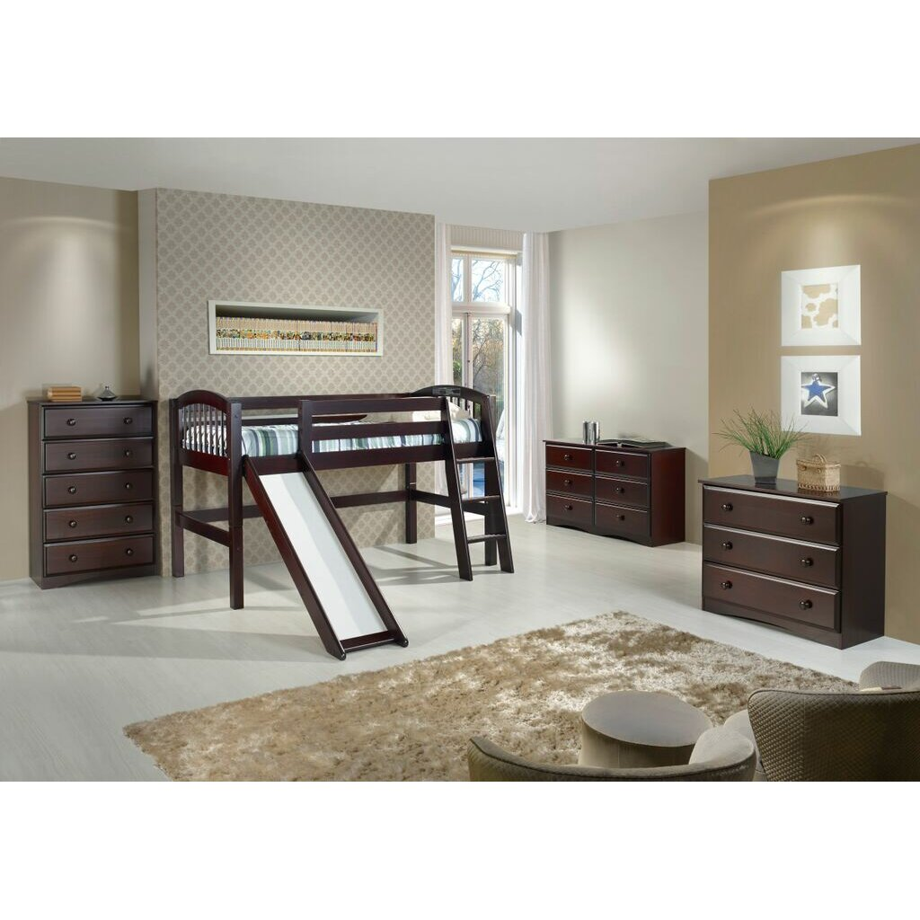 camaflexi twin low loft bed reviews wayfair. Black Bedroom Furniture Sets. Home Design Ideas