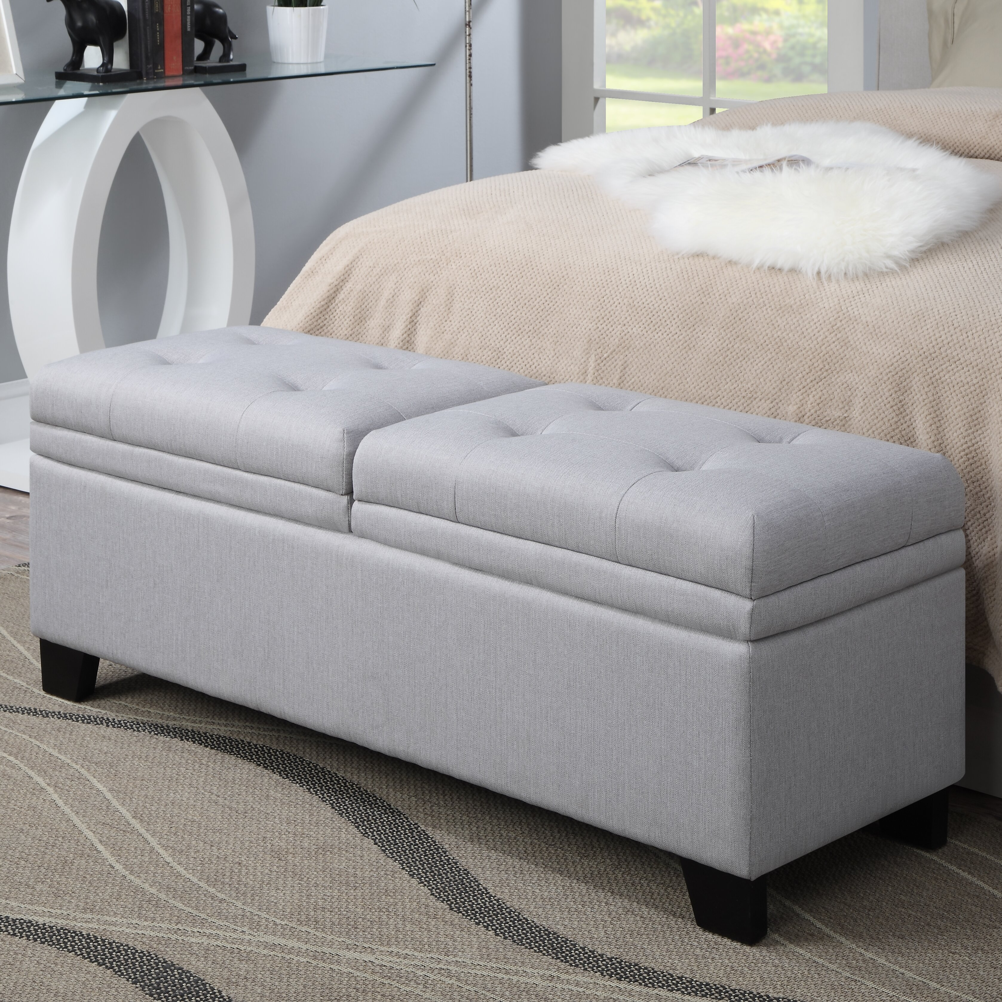 Pri Lilac Fields Upholstered Bedroom Storage Bench Reviews Wayfair