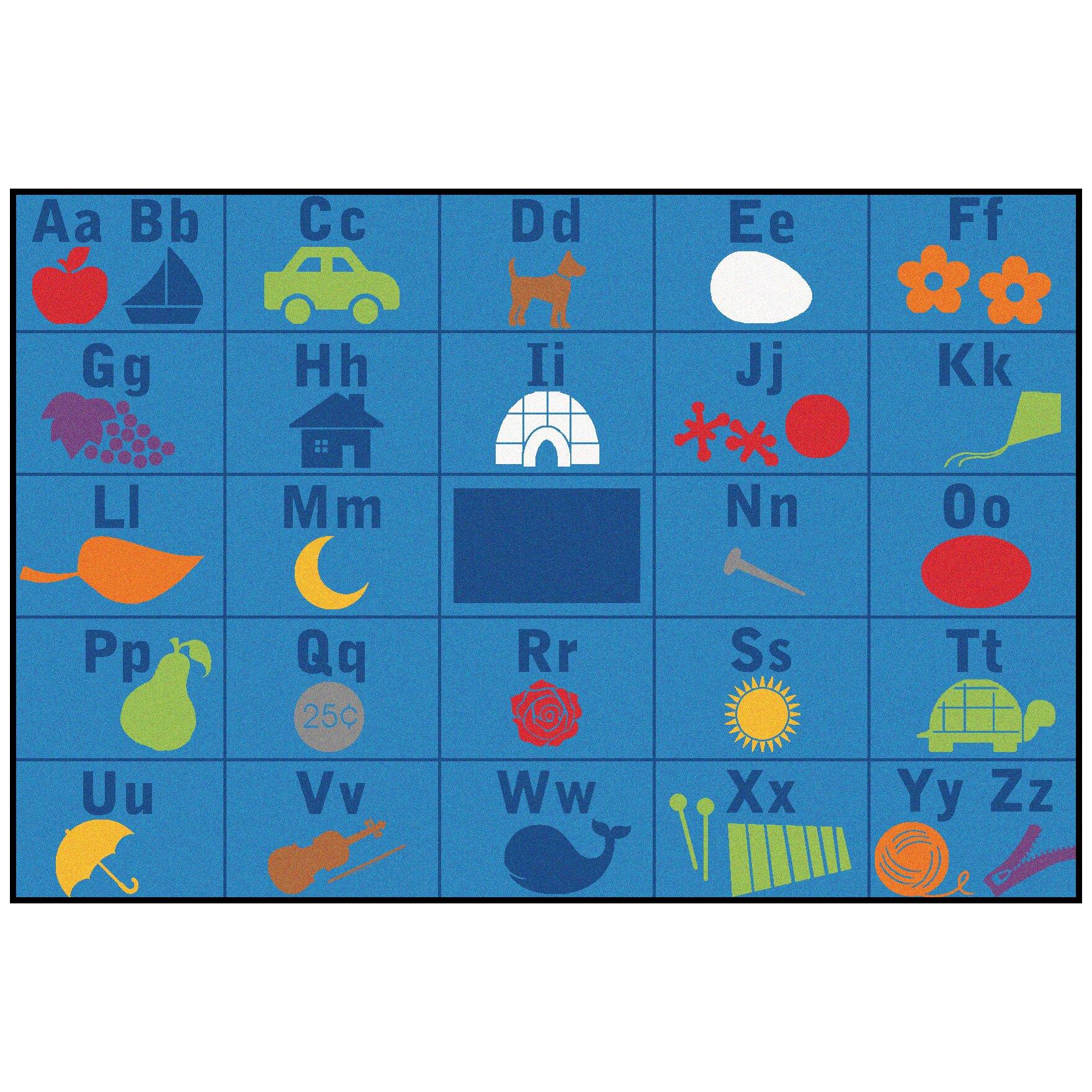 Kids Value Rugs Alphabet Seating Blue Area Rug Reviews