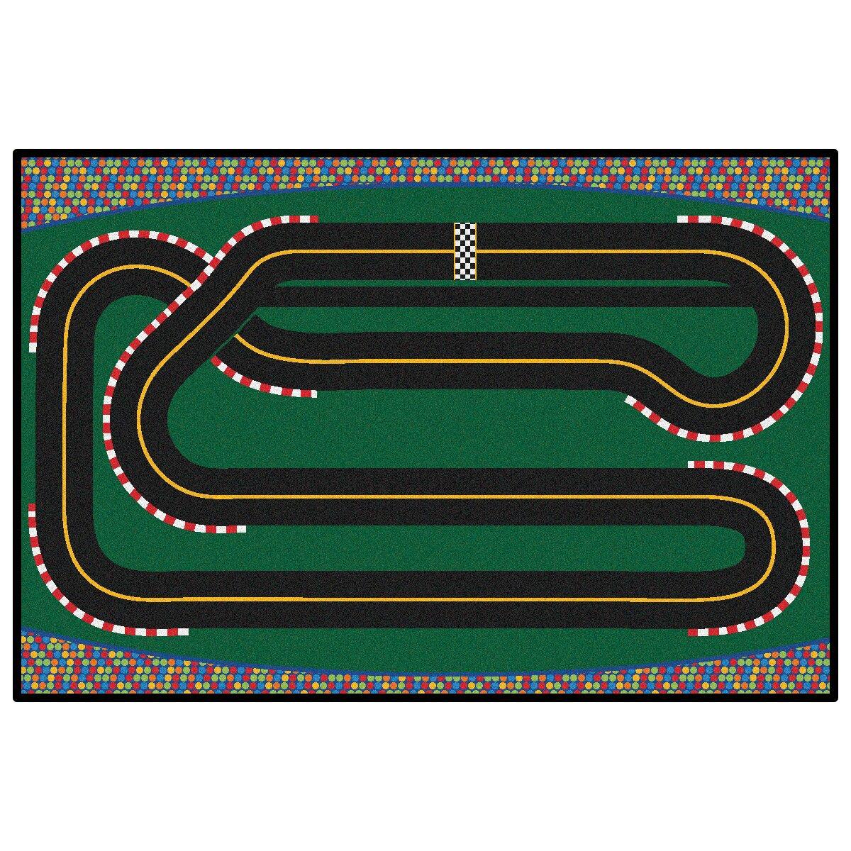 Kids Value Rugs Green Super Speedway Racetrack Area Rug