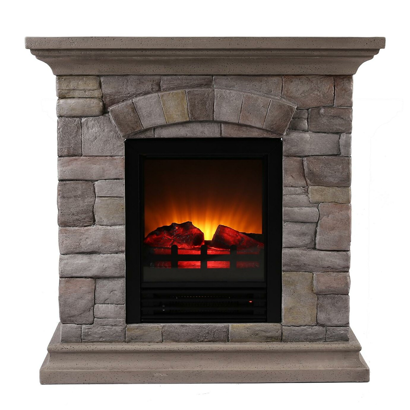 Ok Lighting Portable Electric Fireplace Wayfair . - Electric Fireplace Mantel Packages No Venting Required Dimplex
