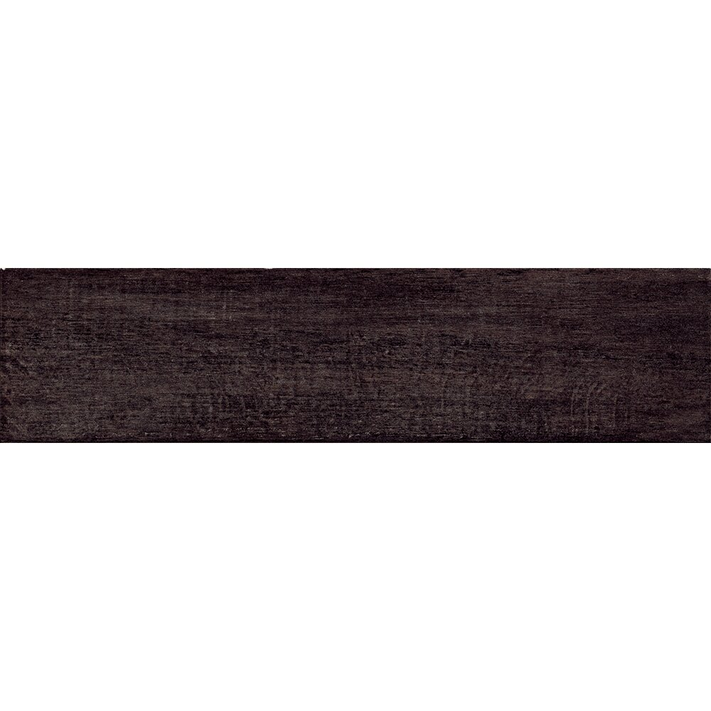 "Samson Barrique 6"" x 24"" Porcelain Wood Tile in Black"