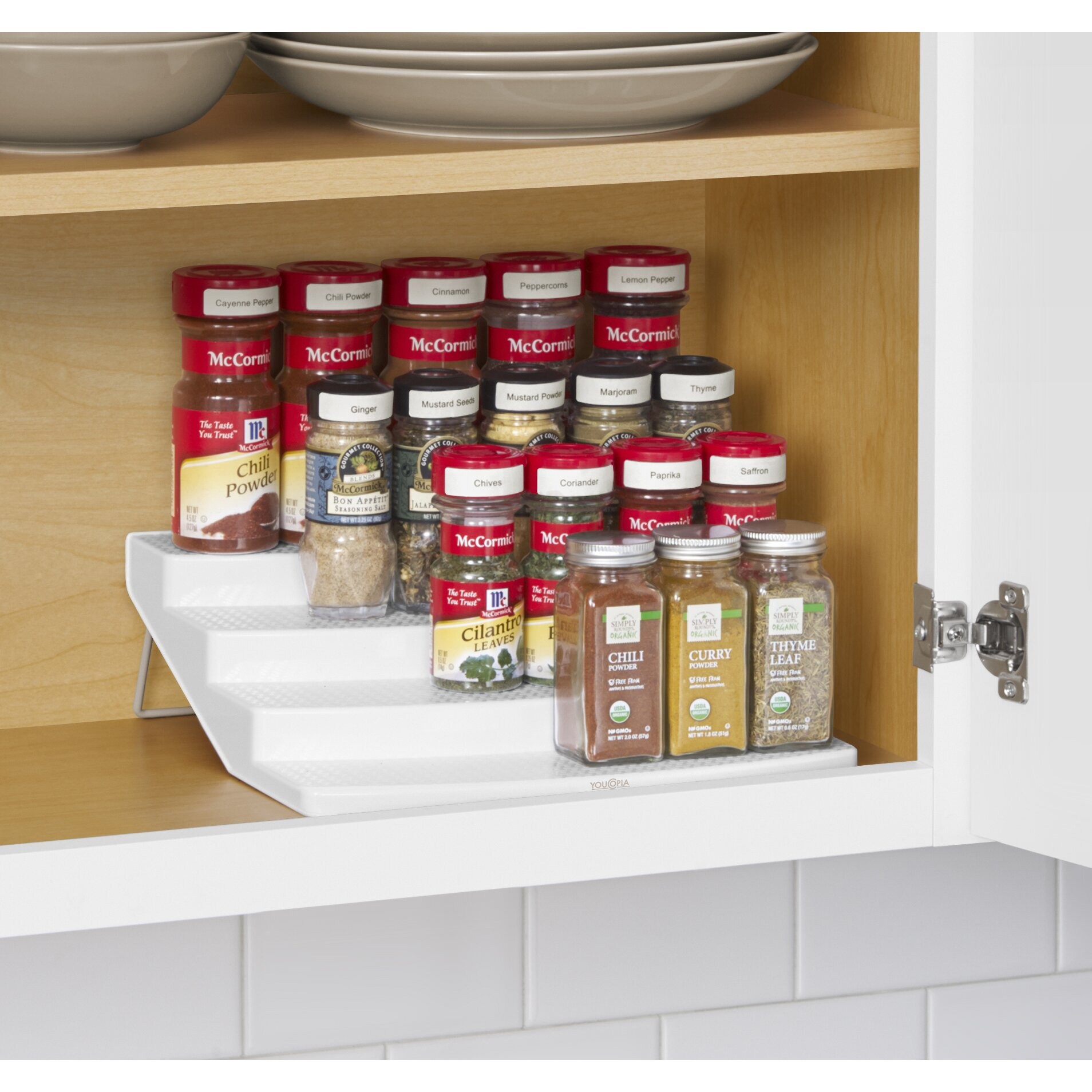 youcopia spice steps 4 tier cabinet spice rack organizer