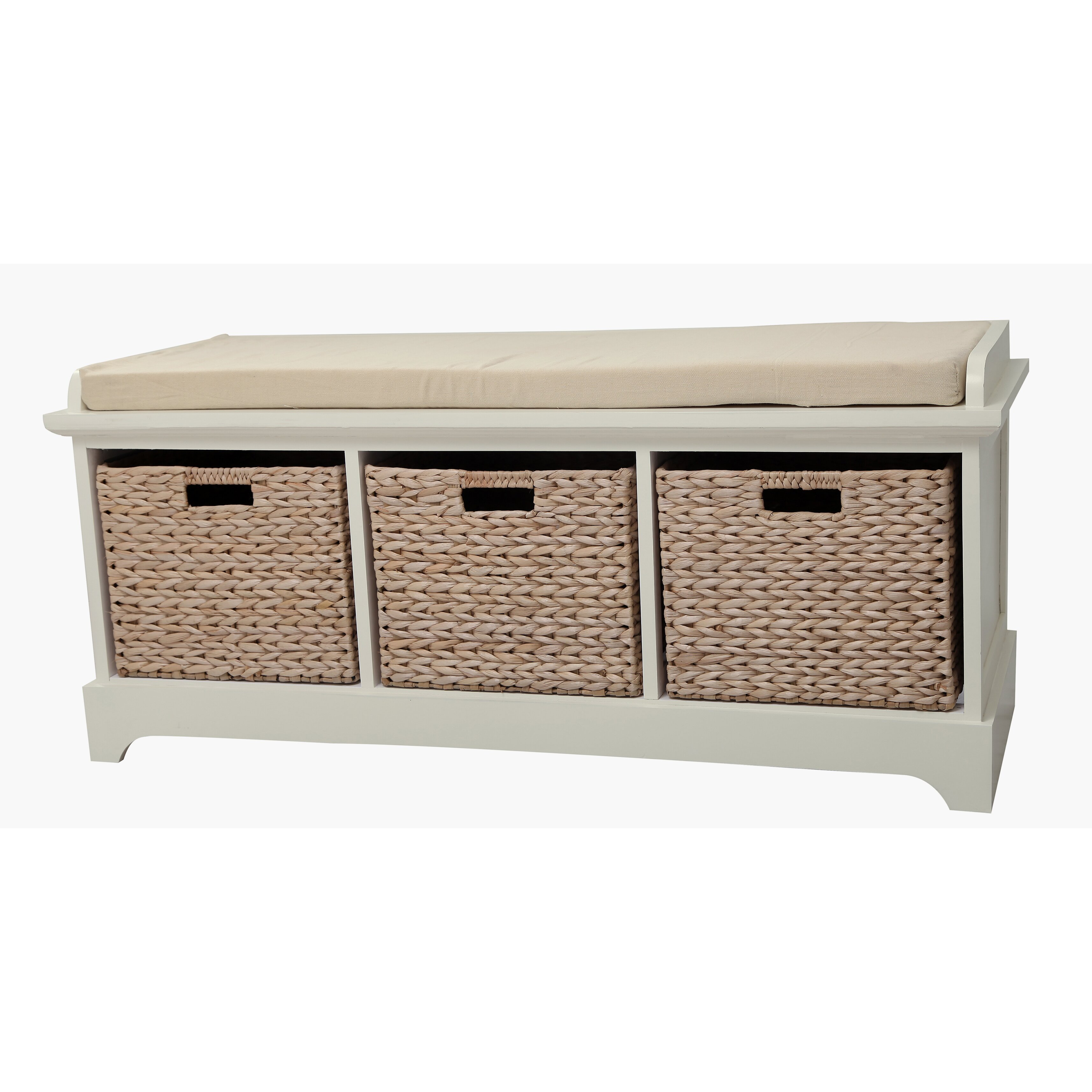 Gallerie Decor Newport Wooden Bedroom Storage Bench With 3
