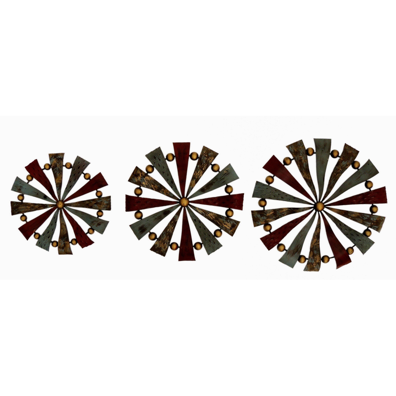 gallerie decor geo 3 piece pinwheels sculpture wall decor. Black Bedroom Furniture Sets. Home Design Ideas
