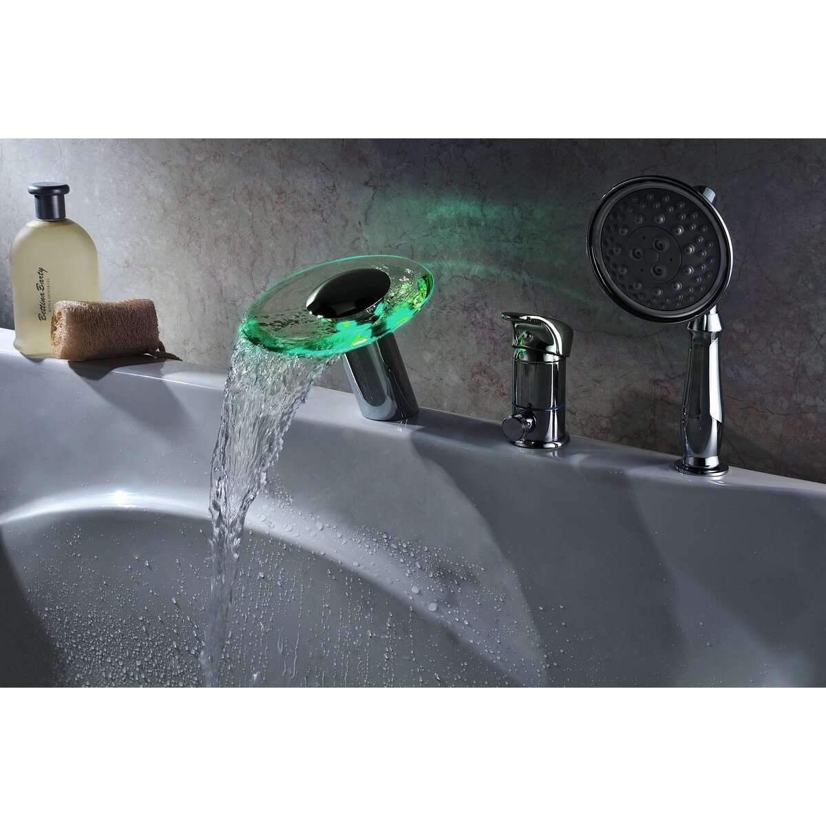 Sumerain Single Handle Deck Mount Tub Faucet Set with ...