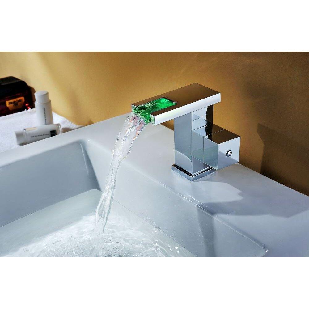 Waterfall Bathroom Sink: Sumerain Single Handle Deck Mount LED Waterfall Bathroom