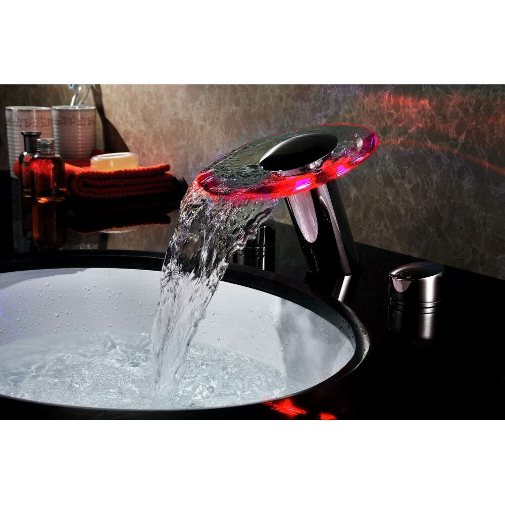 led bathroom sink faucet sumerain handle widespread led waterfall bathroom 19171
