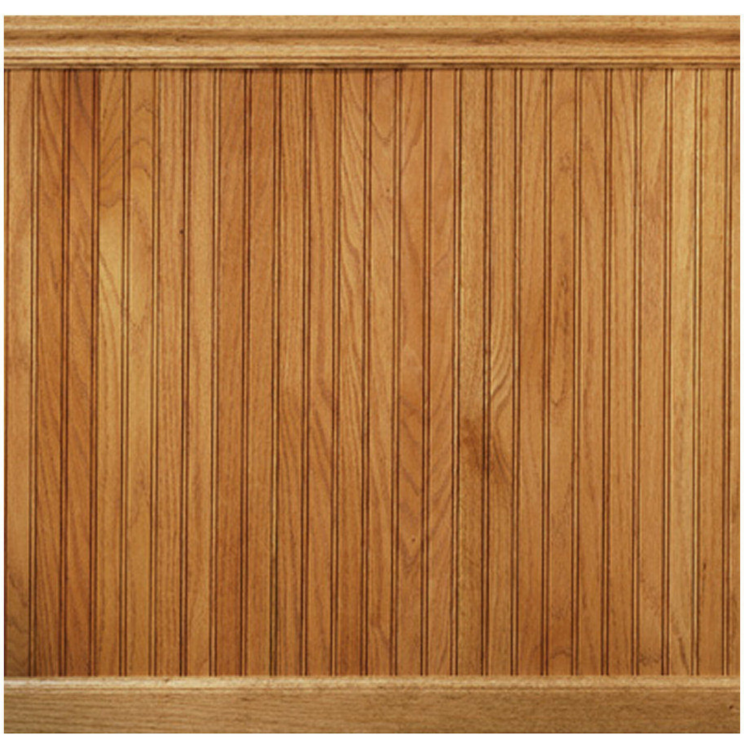Manor house 96 solid wood wall paneling in red oak reviews wayfair for Tongue and groove interior wood paneling
