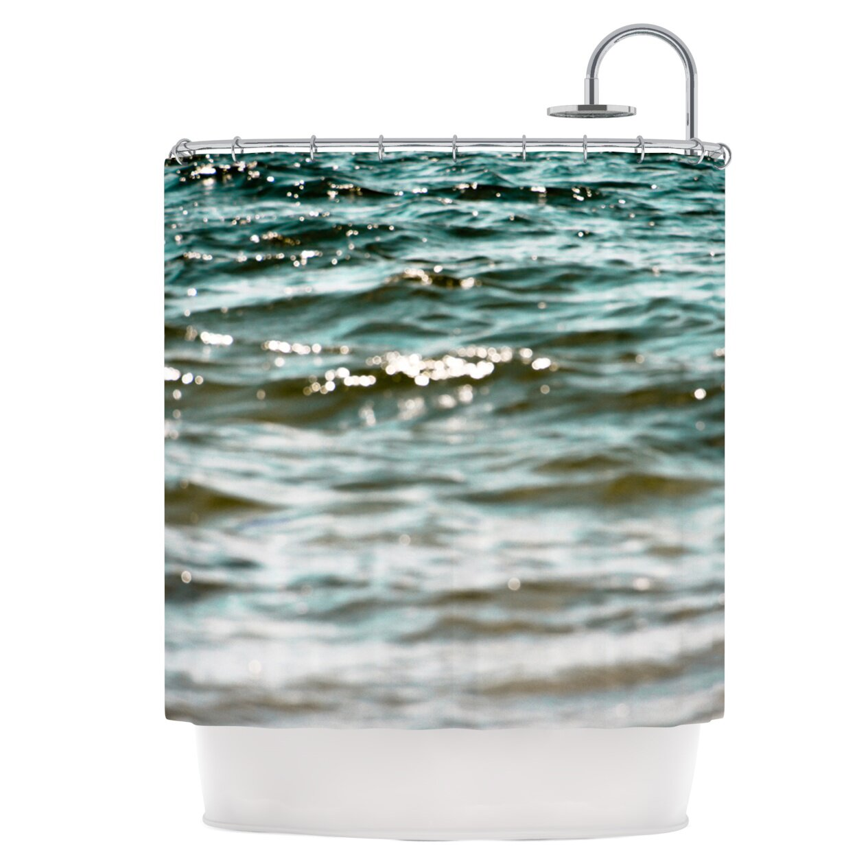 KESS InHouse Turquoise Blue Shower Curtain