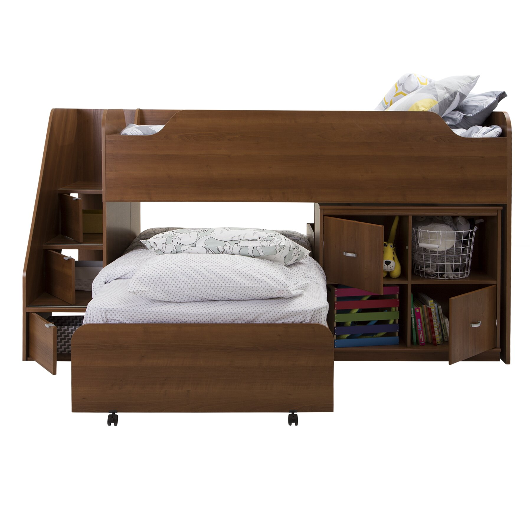South shore mobby twin loft bed with trundle and storage for Loft bed with trundle