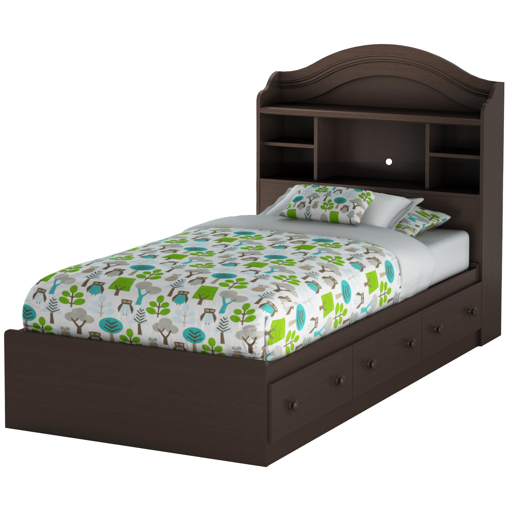 South shore summer breeze twin mate 39 s bed with storage for Twin bed with storage