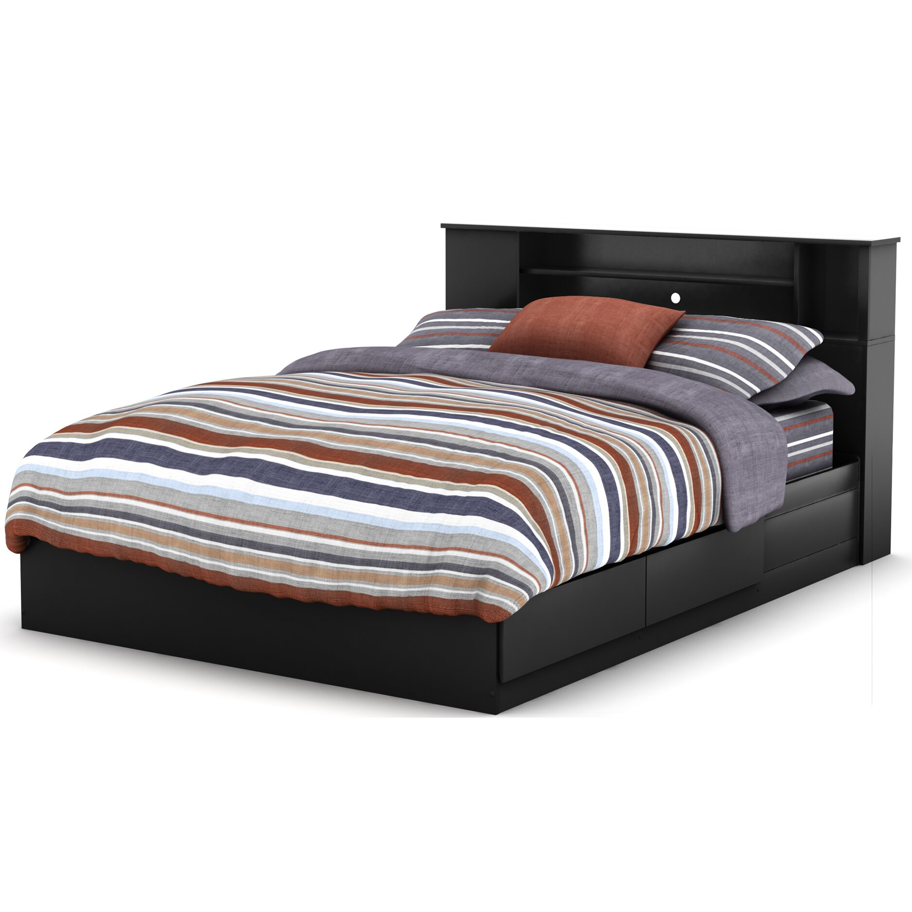 South Shore Vito Queen Storage Bed And Bookcase Headboard