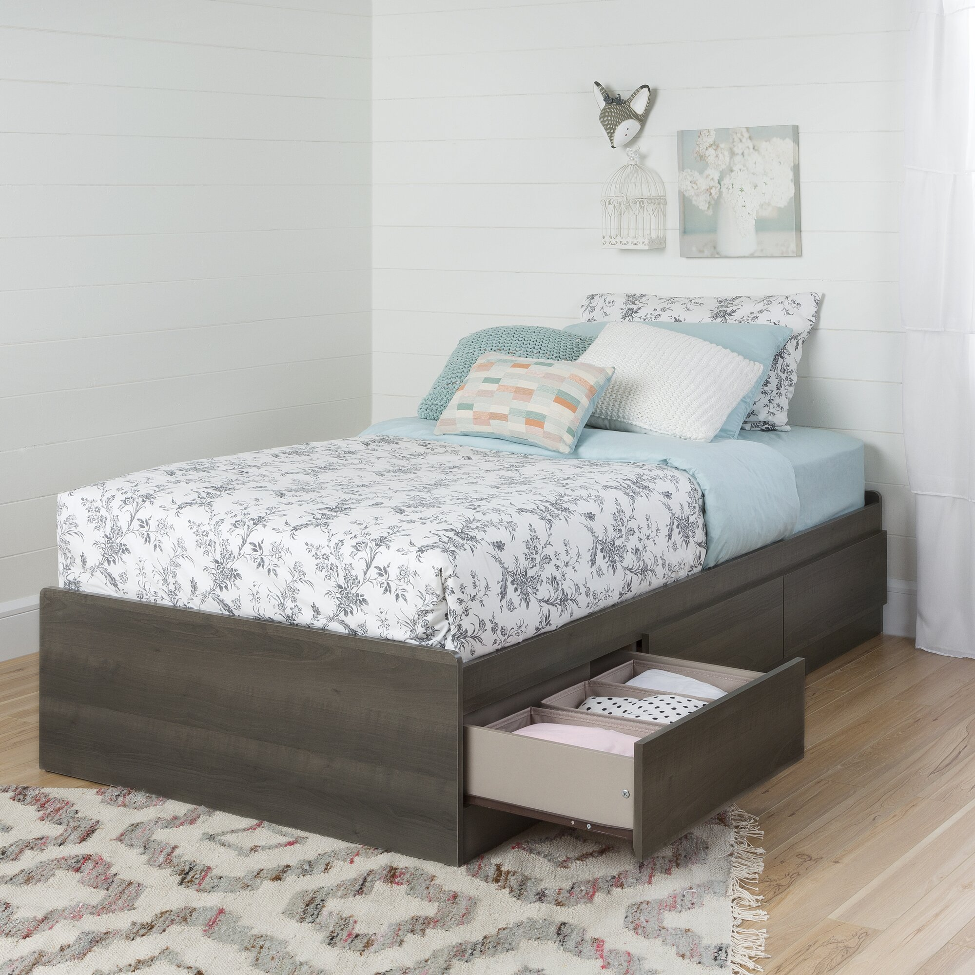 south shore savannah twin mate 39 s bed with drawers reviews wayfair. Black Bedroom Furniture Sets. Home Design Ideas