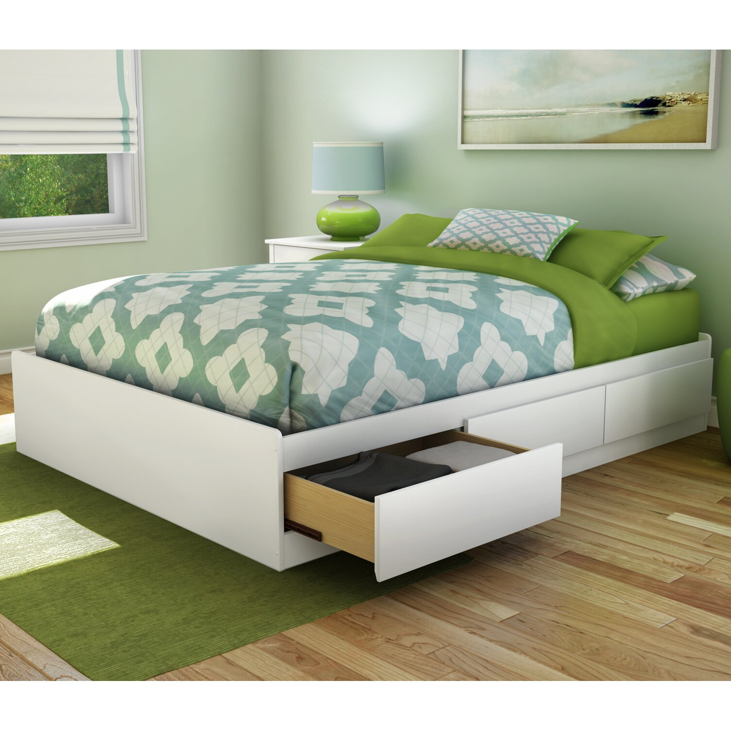 South shore step one full double storage platform bed for Double bed with storage and mattress
