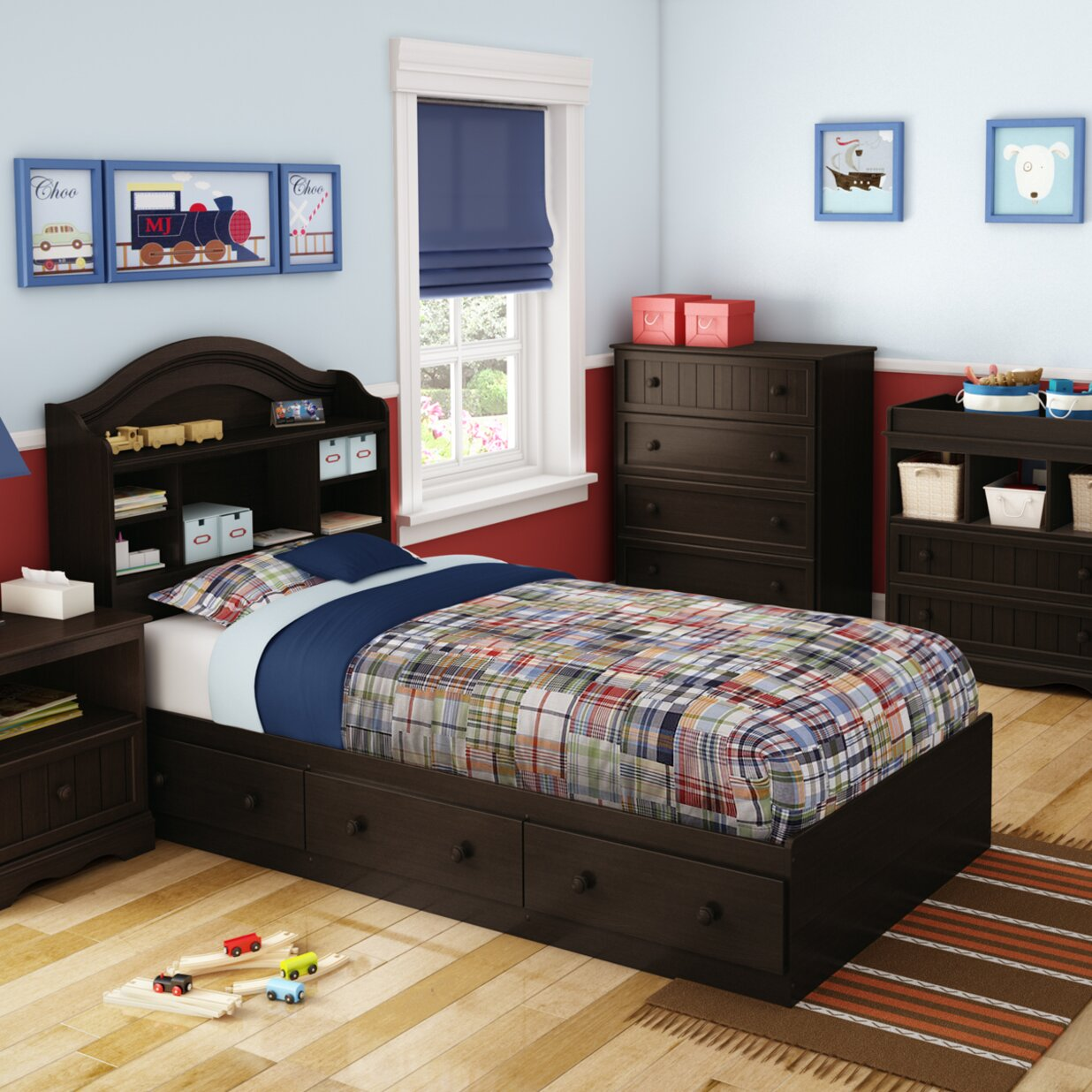 south shore savannah twin mates bed with 3 drawer wayfair. Black Bedroom Furniture Sets. Home Design Ideas