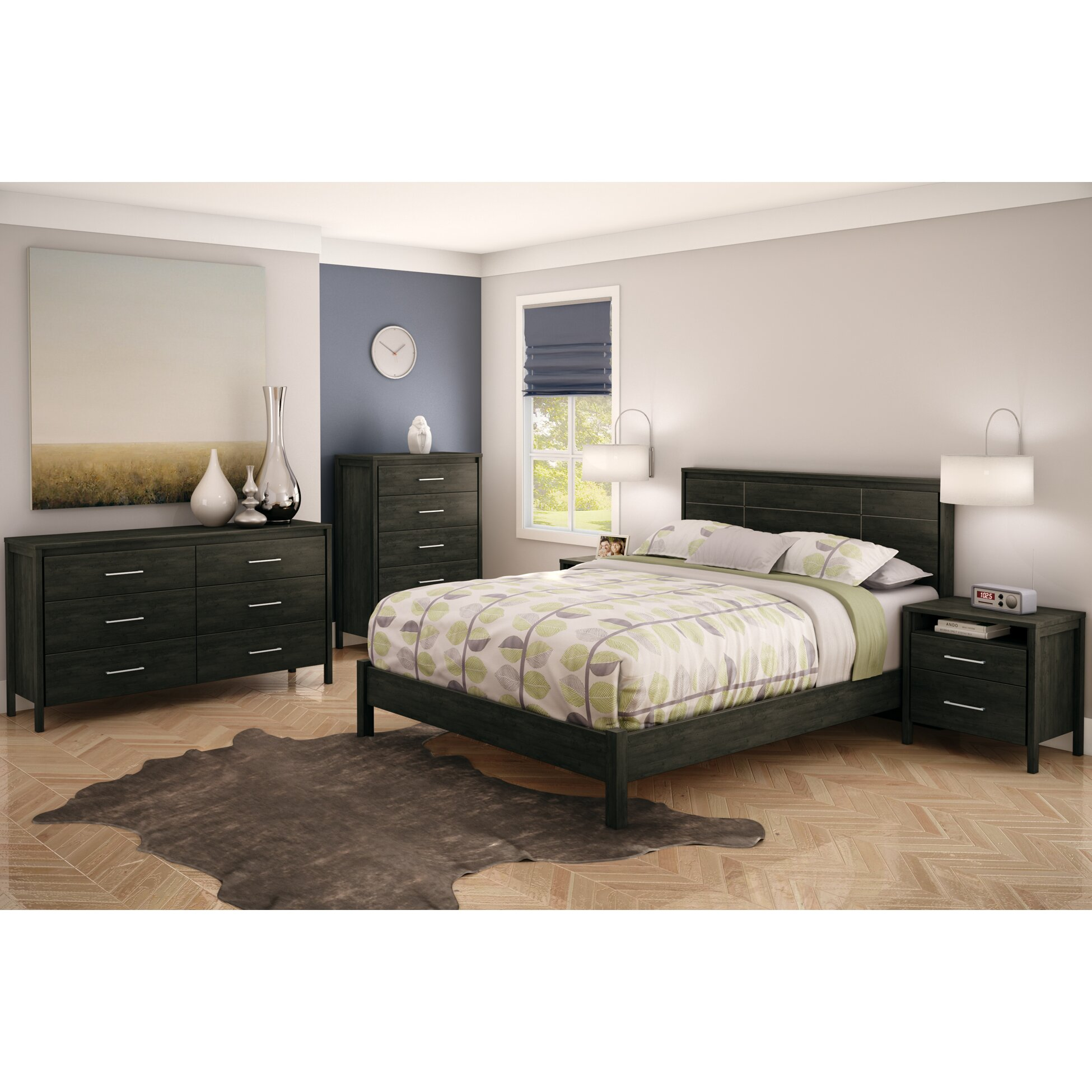 South shore gravity queen platform customizable bedroom for Bedroom furniture sets queen