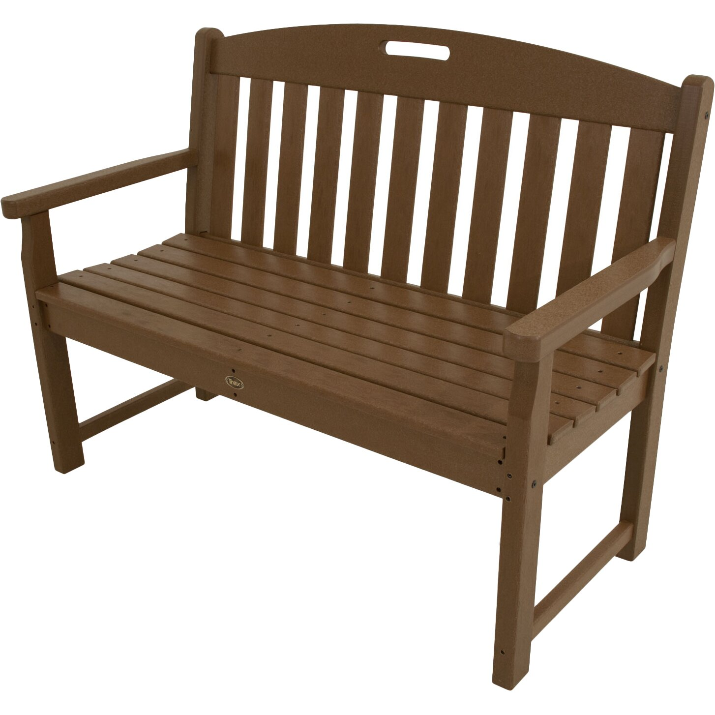 Trex yacht club polyethylene garden bench reviews wayfair for Outdoor furniture benches