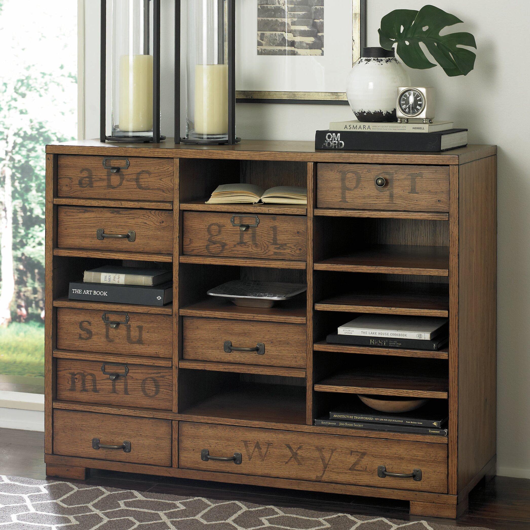 Hammary hidden treasures 7 drawer printer 39 s chest for Secret drawer kitchens