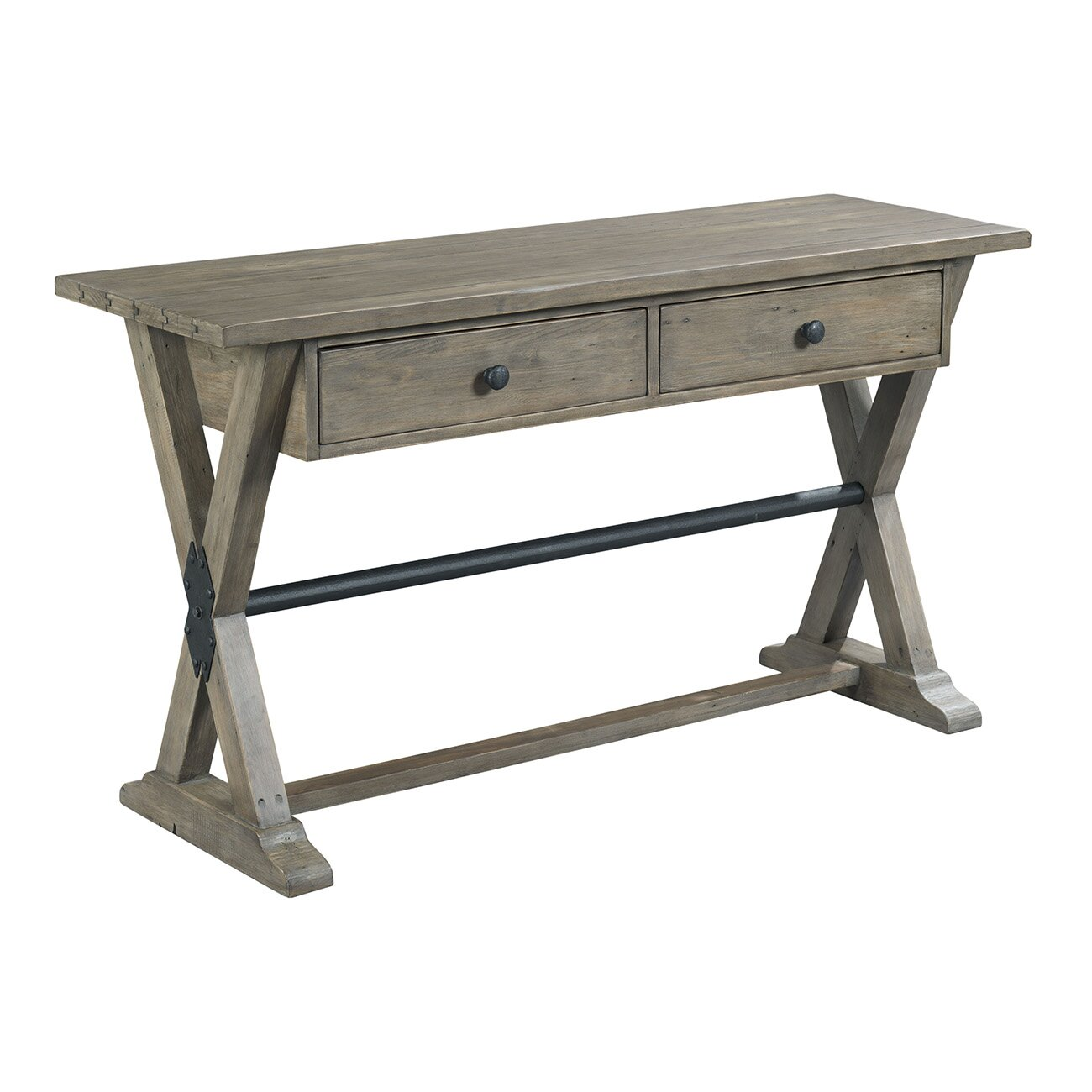 Hammary reclamation place console table wayfair for Sofa table placement