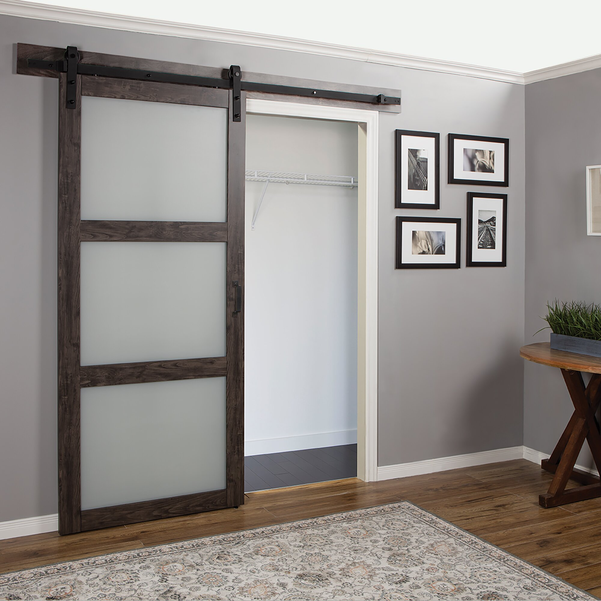 erias home designs continental frosted glass 1 panel ironage laminate interior barn door wayfair. Black Bedroom Furniture Sets. Home Design Ideas