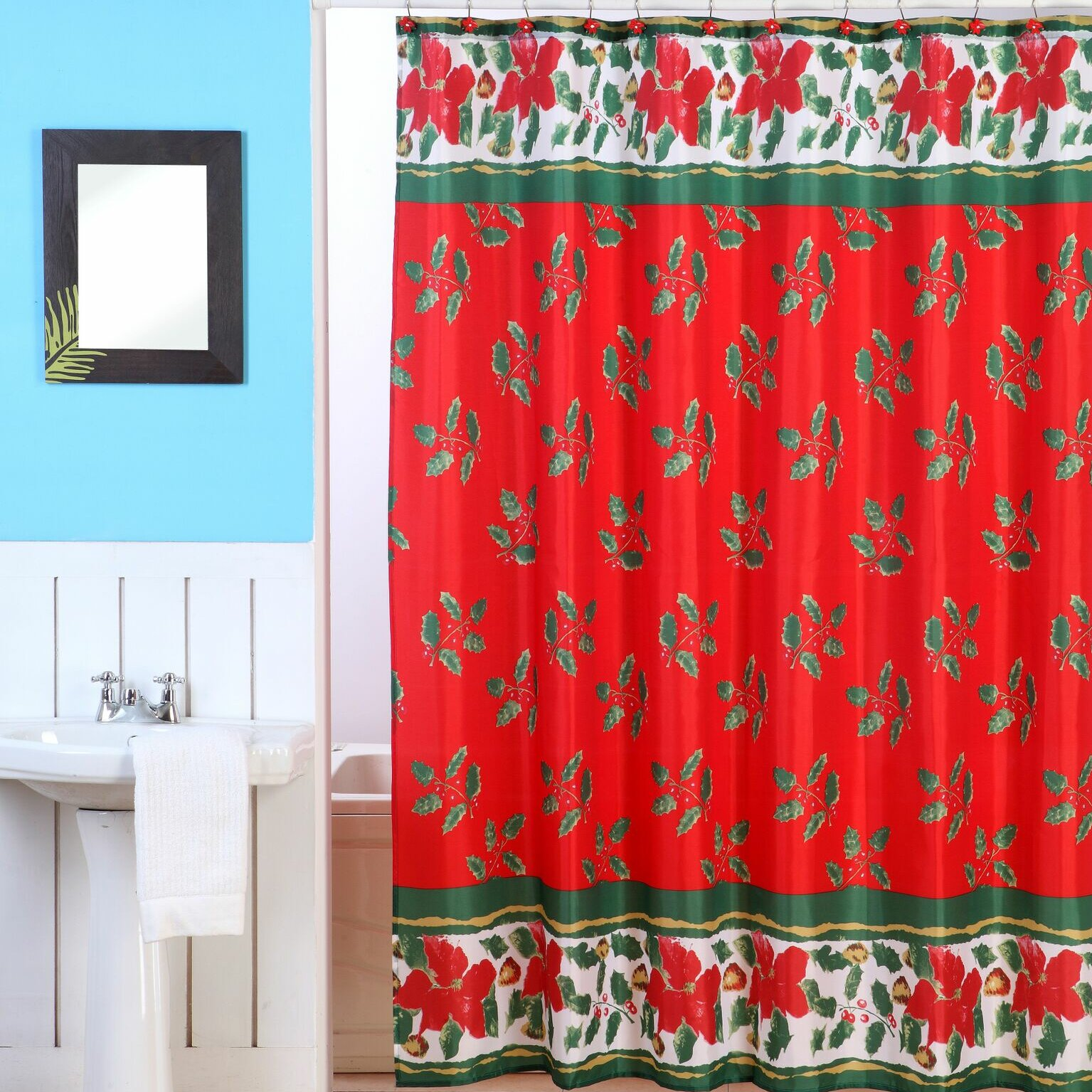 Dainty Home Christmas Shower Curtain Set