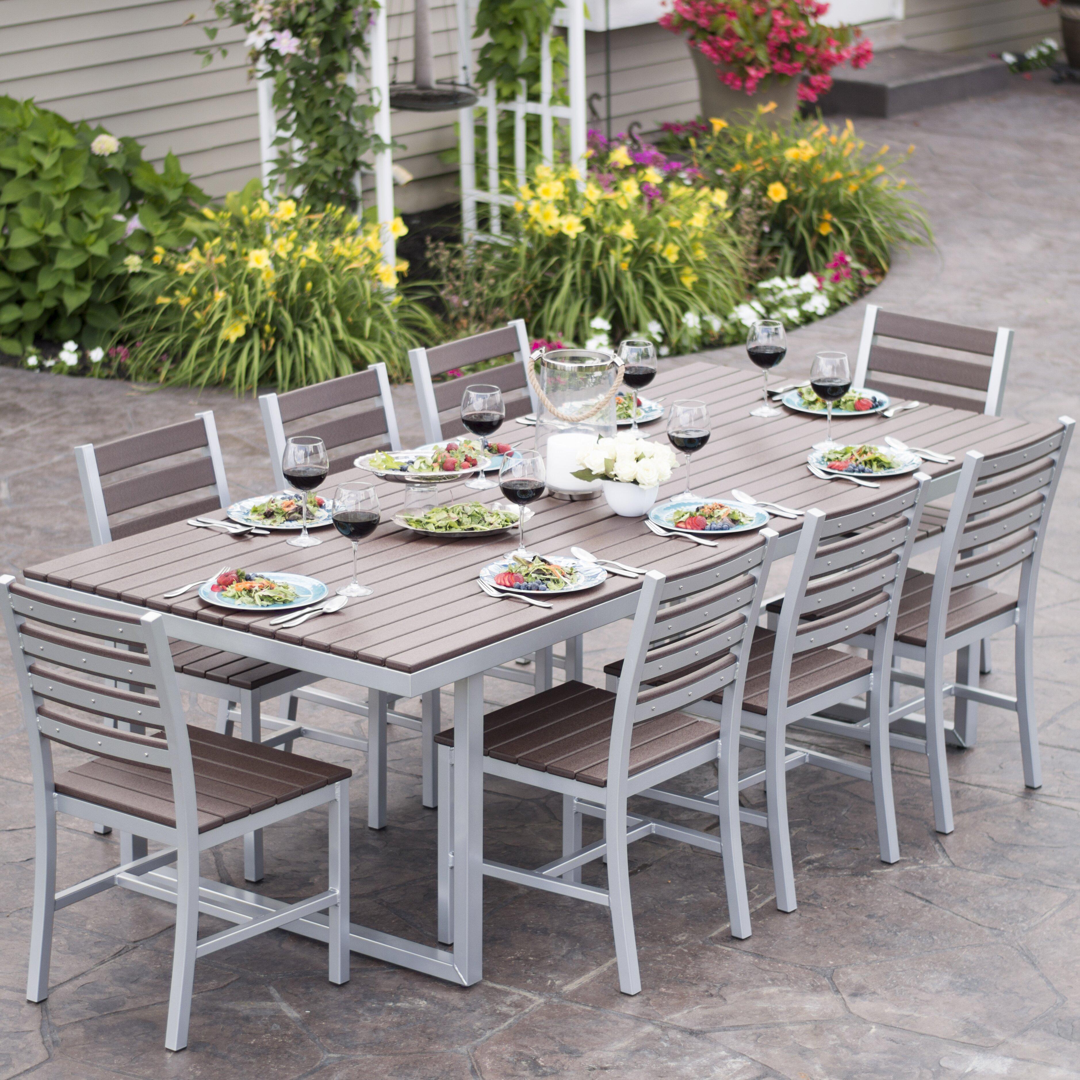 Elan furniture kinzie 9 piece dining set reviews wayfair for Outdoor furniture 9 piece