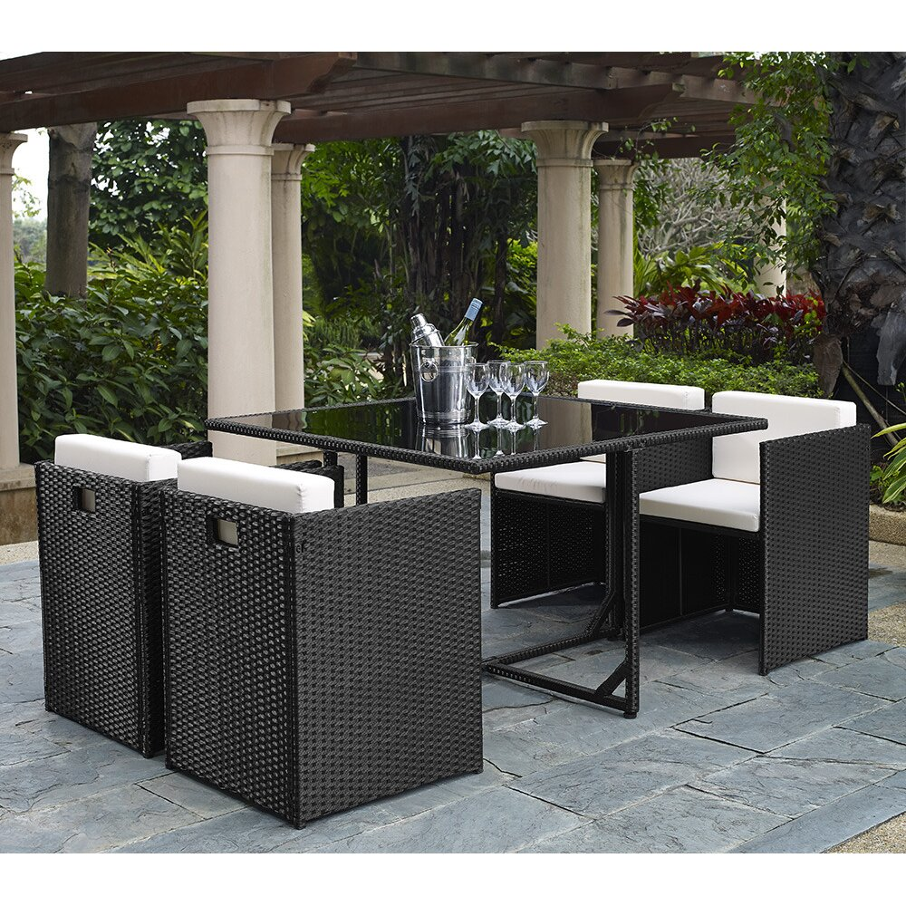 Wade logan dunlap 5 piece outdoor dining set with cushion for Outdoor furniture 5 piece