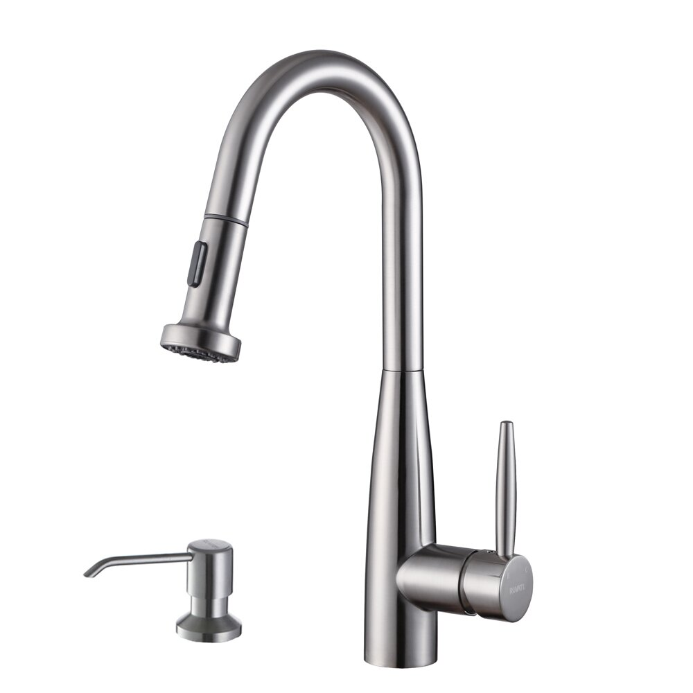 handle kitchen faucet with pull out spray and soap dispenser by ruvati