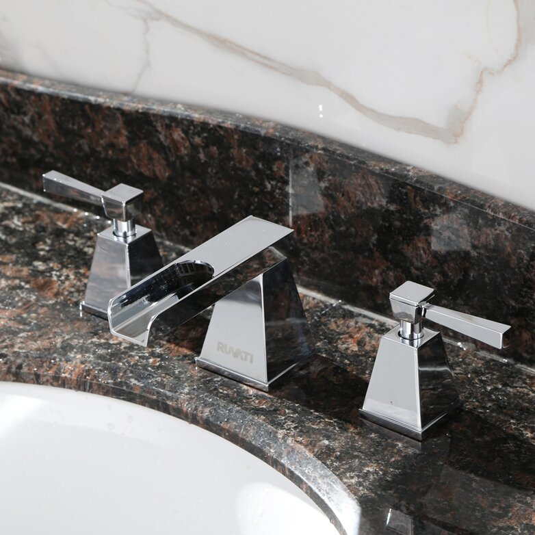 Widespread Waterfall Faucet : Ruvati Waterfall Double Handle Widespread Bathroom Faucet & Reviews ...