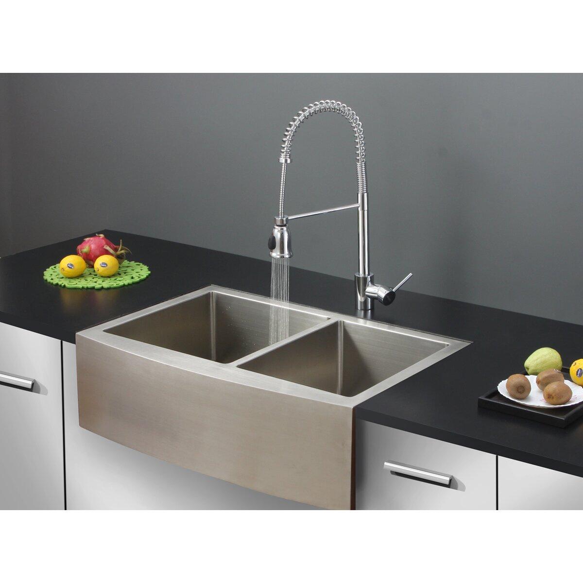 ruvati 33 quot x 22 quot kitchen sink with faucet reviews wayfair