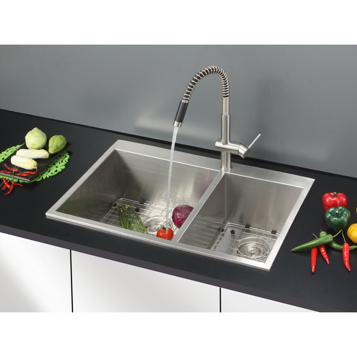 "Ruvati Tirana 33"" X 22"" Drop-in Double Bowl Kitchen Sink"
