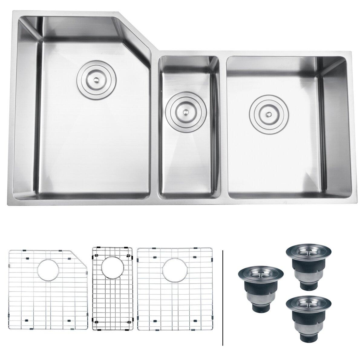 Ruvati Gravena X Undermount Triple Bowl Kitchen Sink Reviews Wayfair