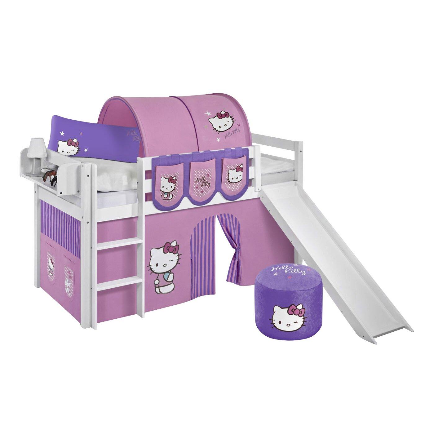 Lilokids hochbett hello kitty mit rutsche und vorhang 90 - Hello kitty babyzimmer ...