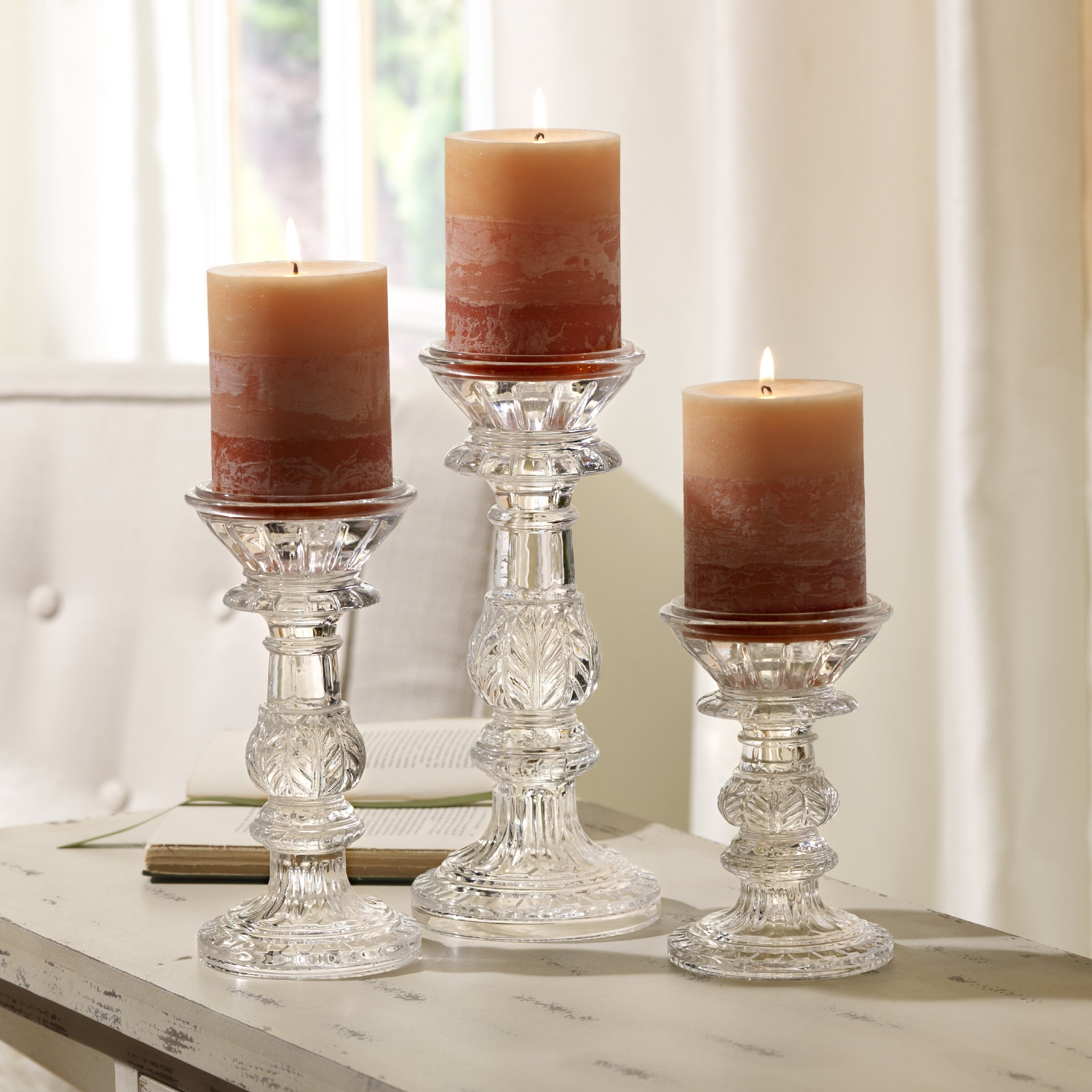 Bombay 3 Piece Glass Leaf Candle Holder Set amp Reviews  : Bombay 3 Piece Glass Leaf Candle Holder Set from www.wayfair.com size 2400 x 2400 jpeg 520kB